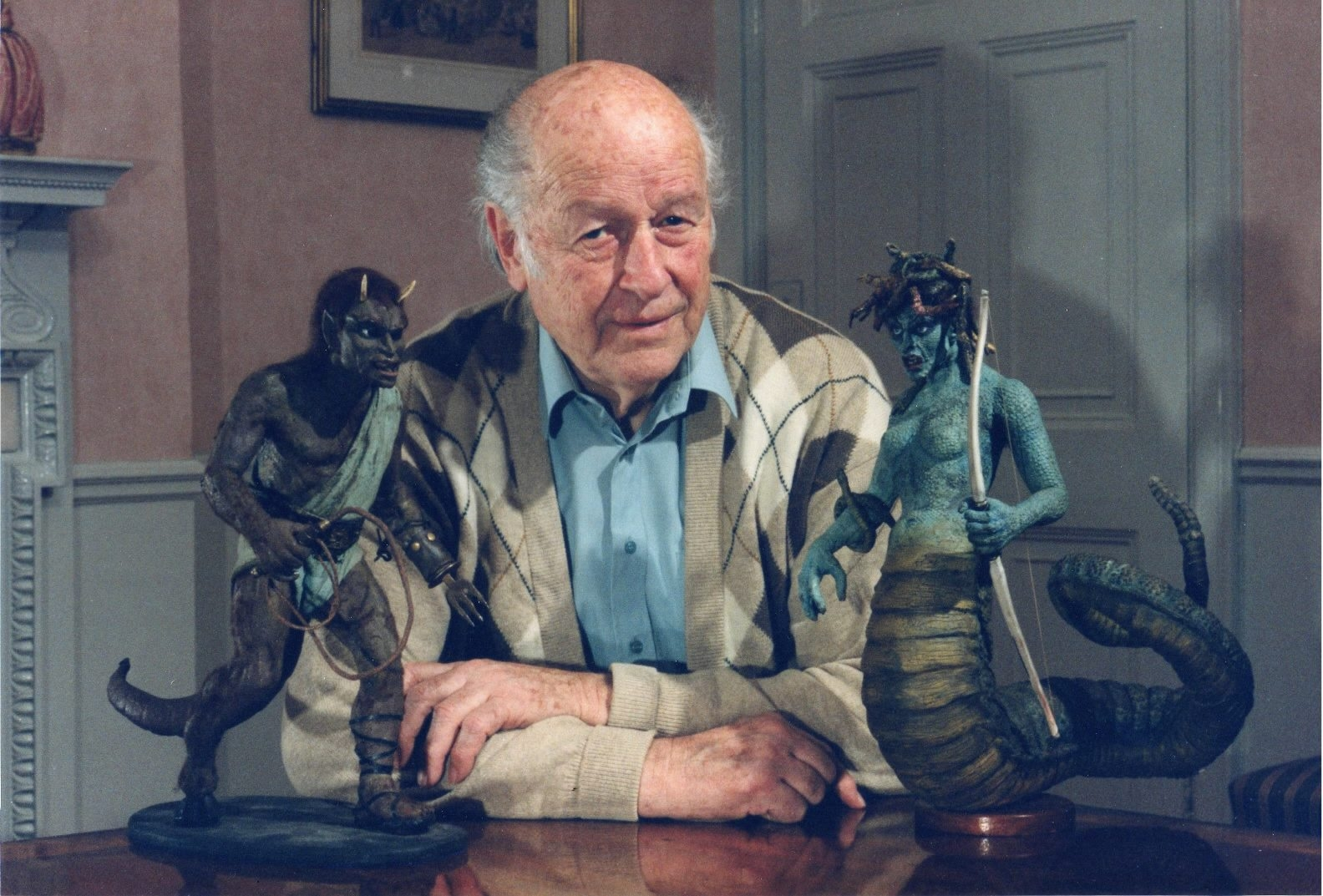 Ray Harryhausen with 'Clas of the Titans' models.
