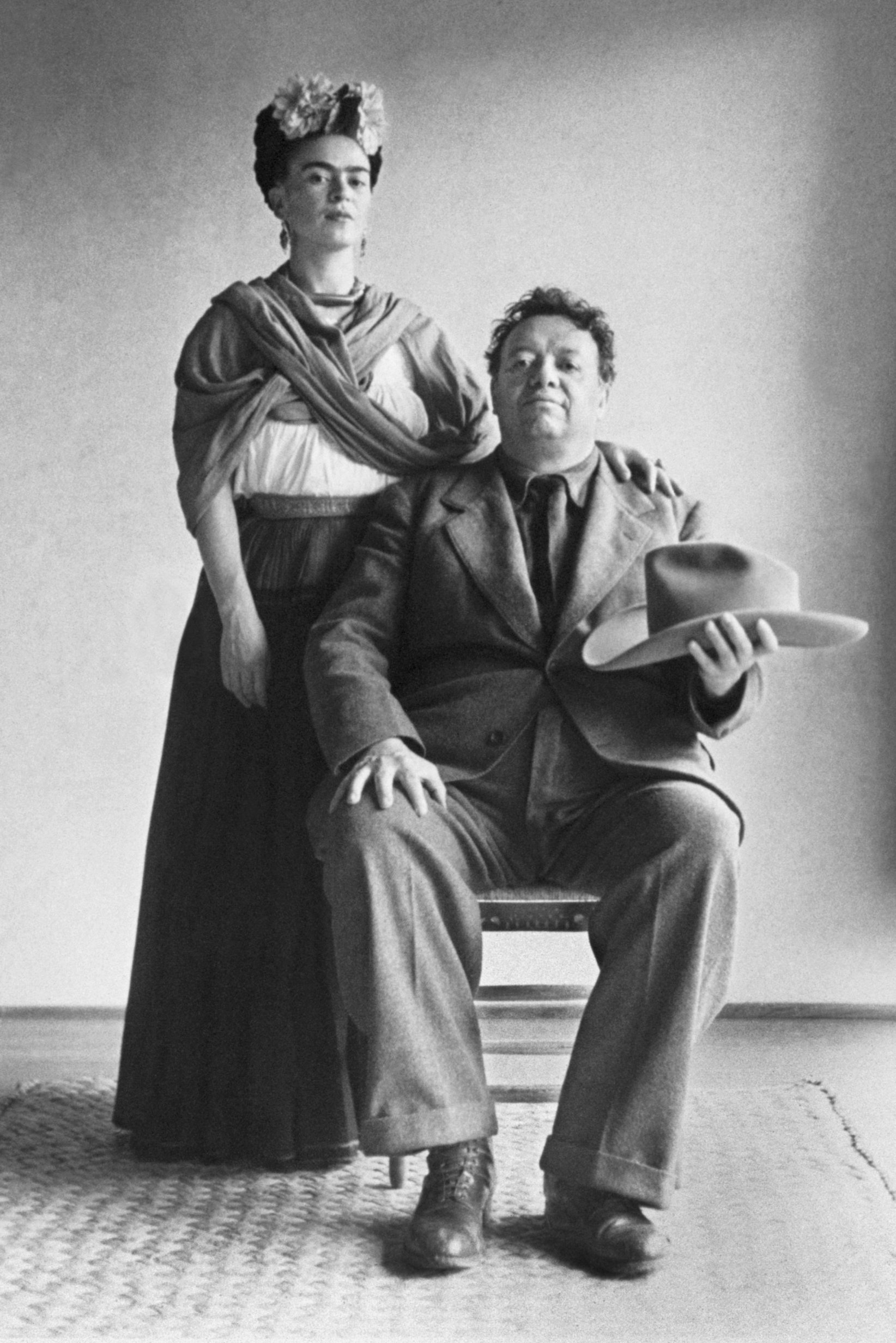"A photograph of Frida Kahlo and Diego Rivera from the ""Frida & Diego: Passion, Politics and Painting"" exhibit."