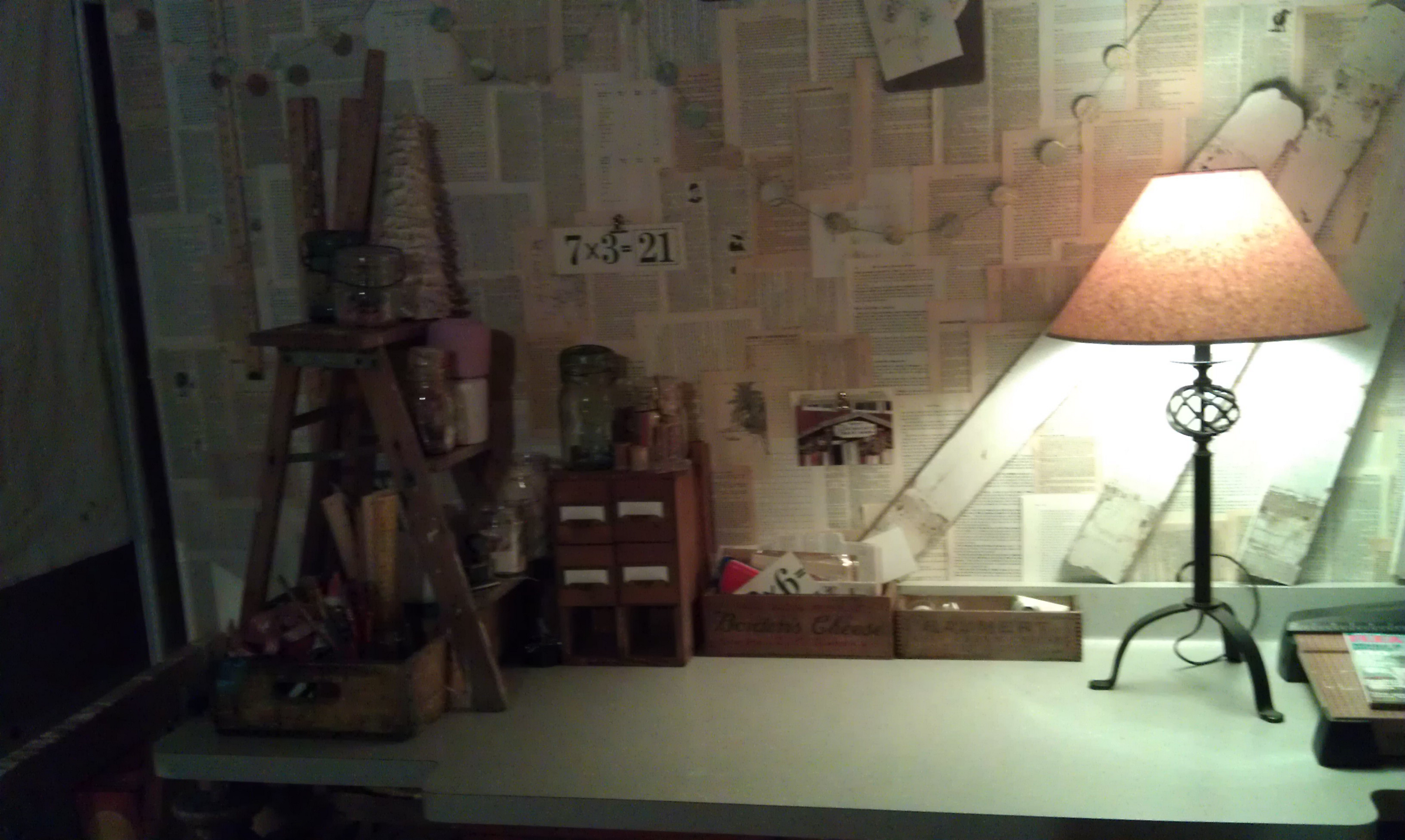 Joshua Fraass, a junior at St. Joe's, makes his own product line out of recycled material. this is his basement studio