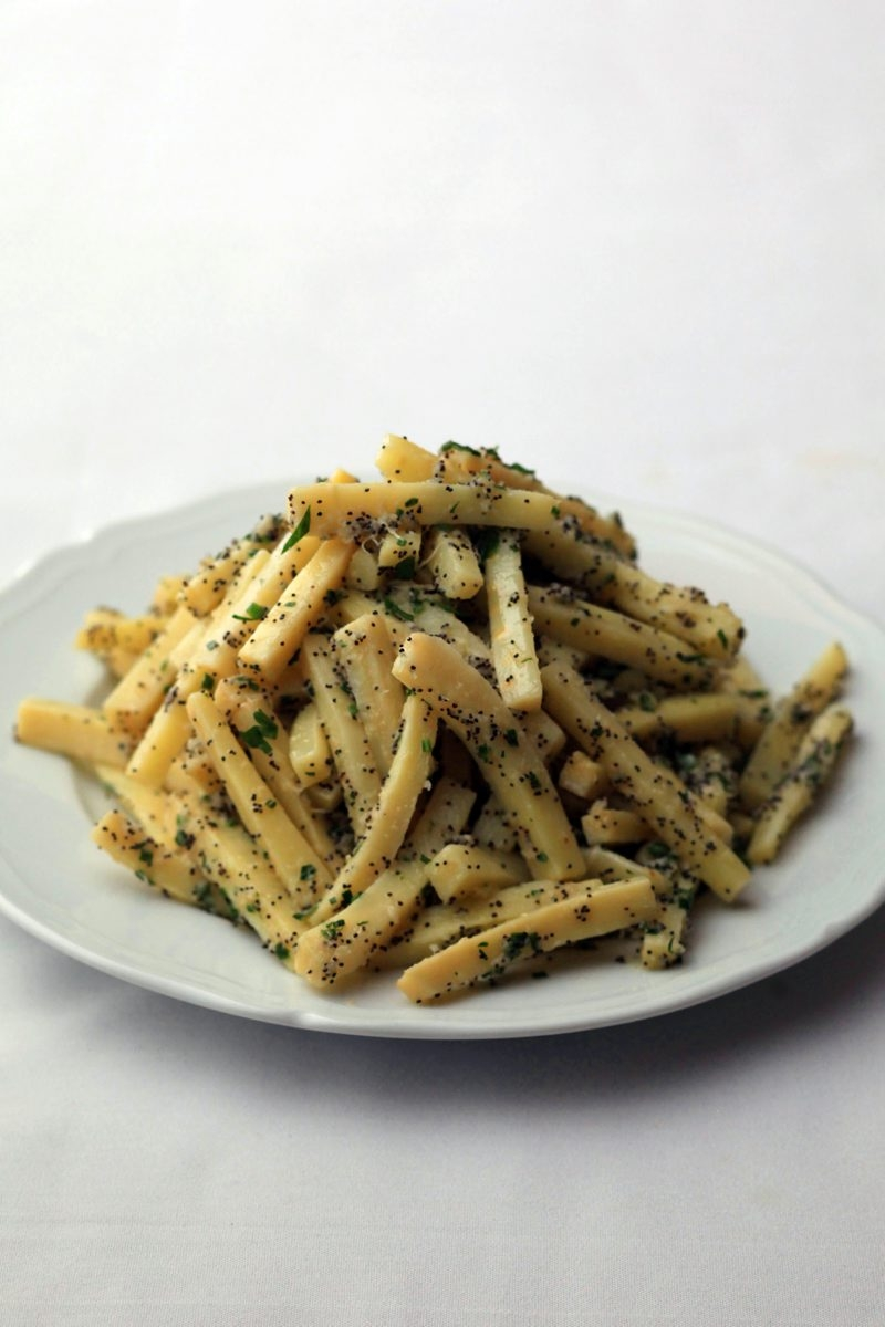Parsnips are a classic winter vegetable and pair well with horseradish and chives.
