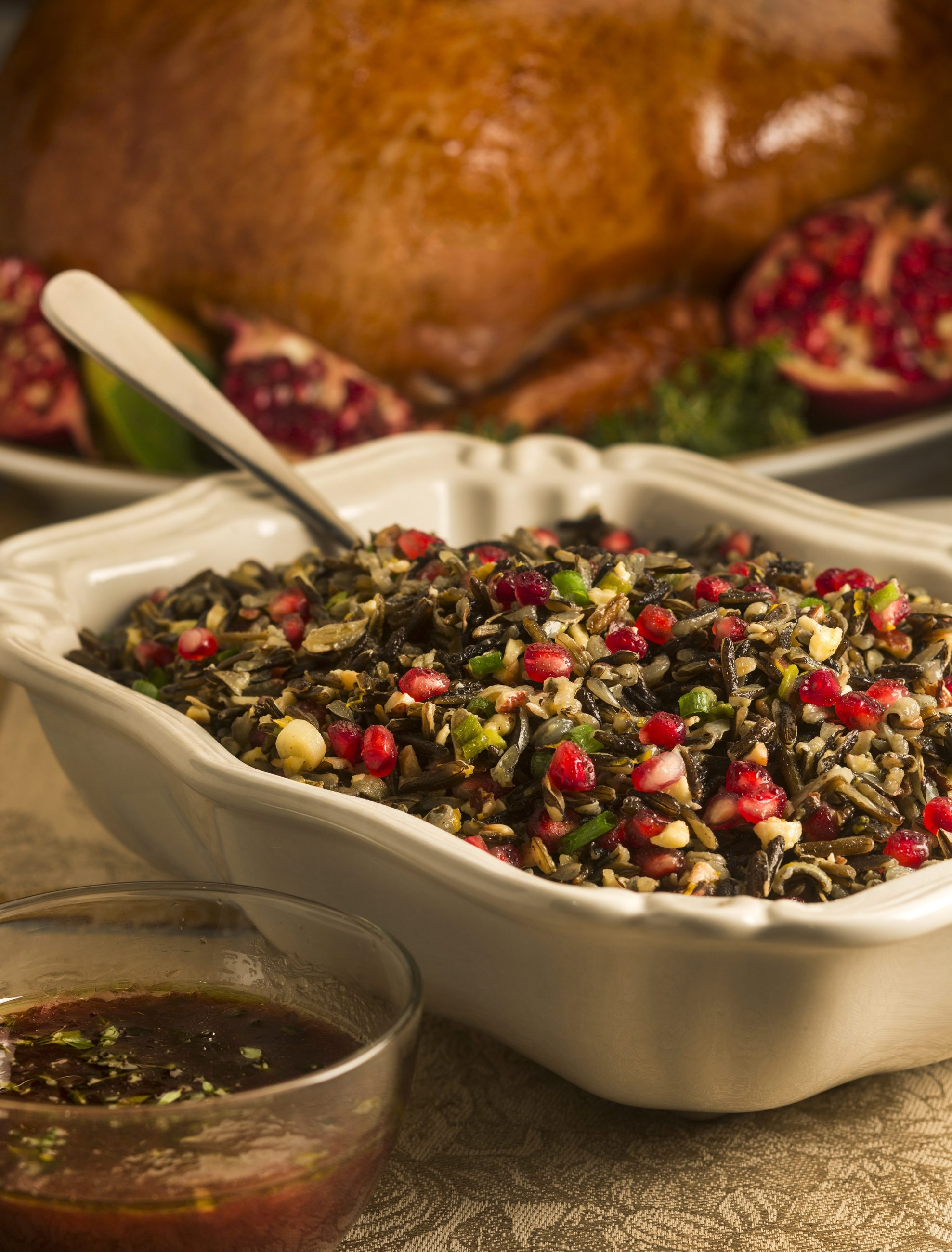 A wild rice salad with pomegranate seeds and hazelnuts  can make a tasty side dish.