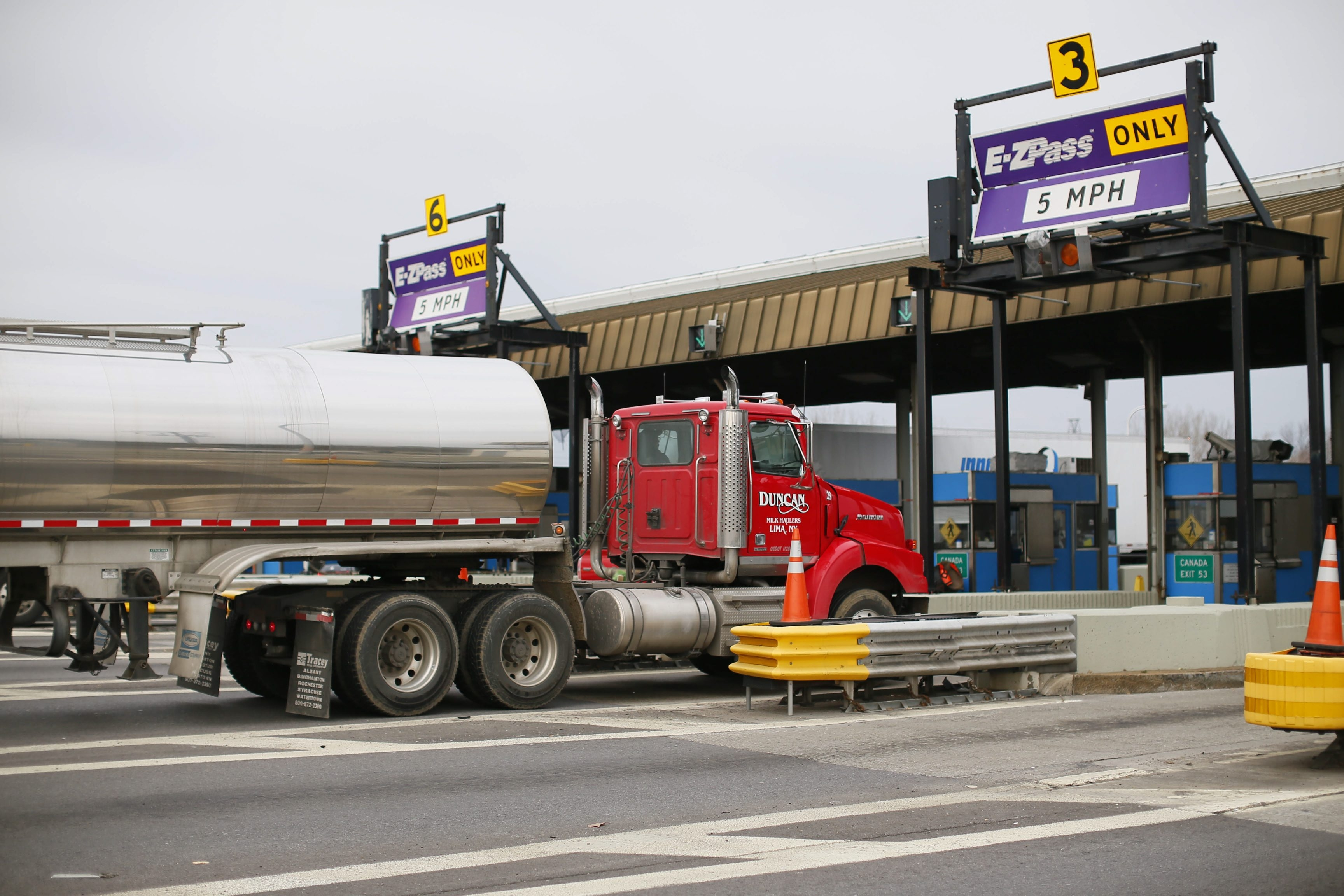 Commercial truck traffic passes through the Lackawanna toll booth on the New York State Thruway. (Derek Gee/Buffalo News file photo)