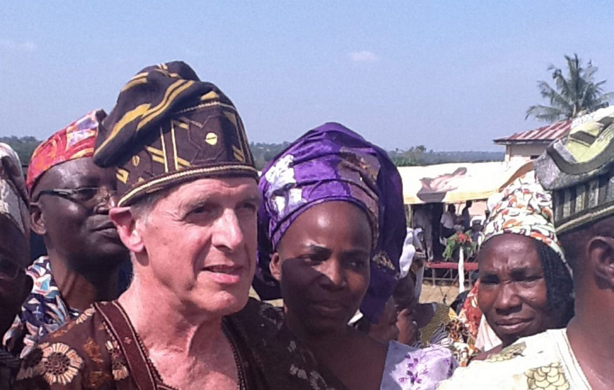Before his coronation as a chief and the naming of a research center in Esie, Nigeria, for him, UB Anthropology Professor Phillips Stevens Jr. is photographed with some of those who attended the ceremony to honor him. (Photo courtesy Phillips Stevens Jr.)