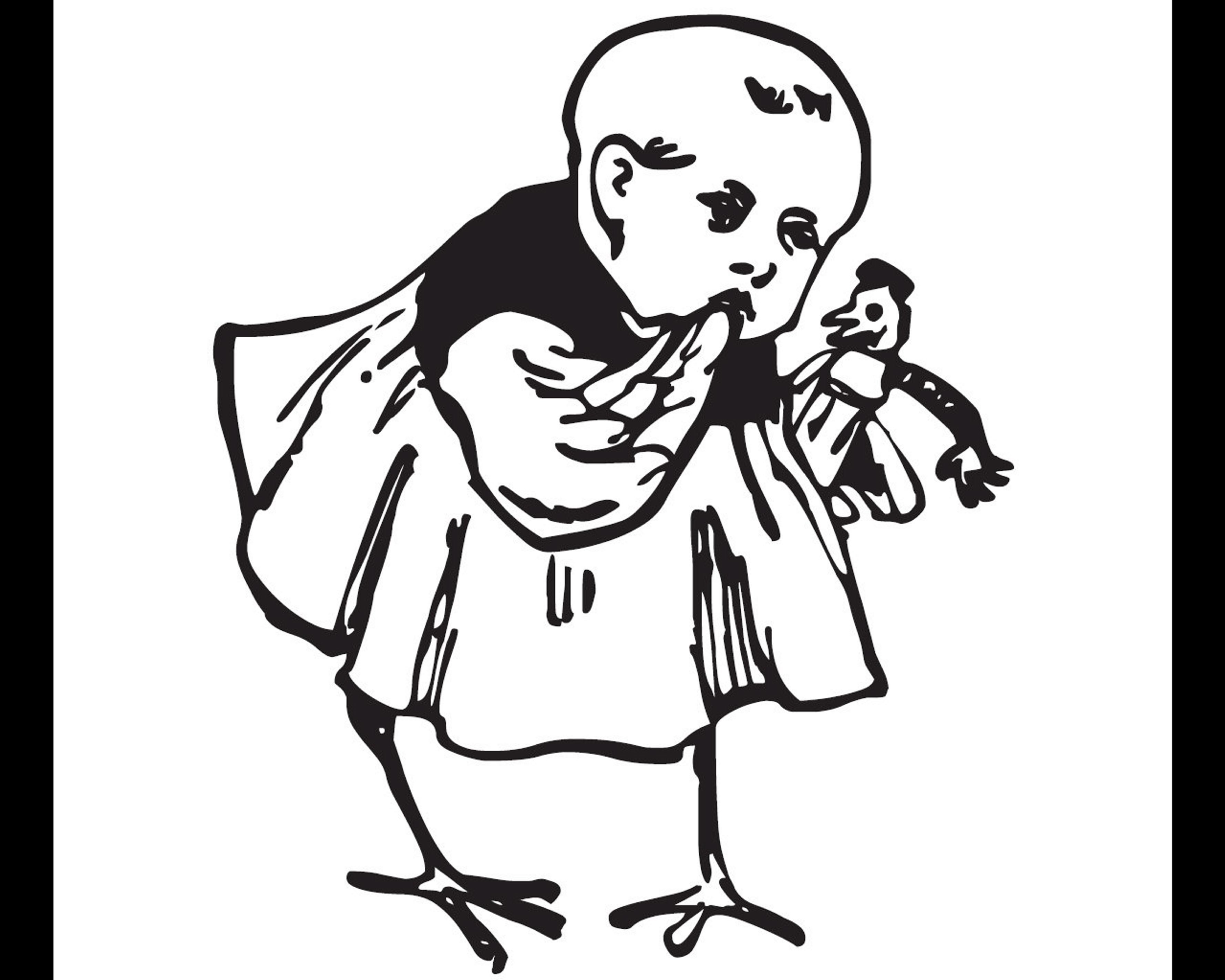 "This graphic illustration of a human-chick hybrid appears in Chris Fritton and Ric Royer's project ""The Baltimore Catechism."""