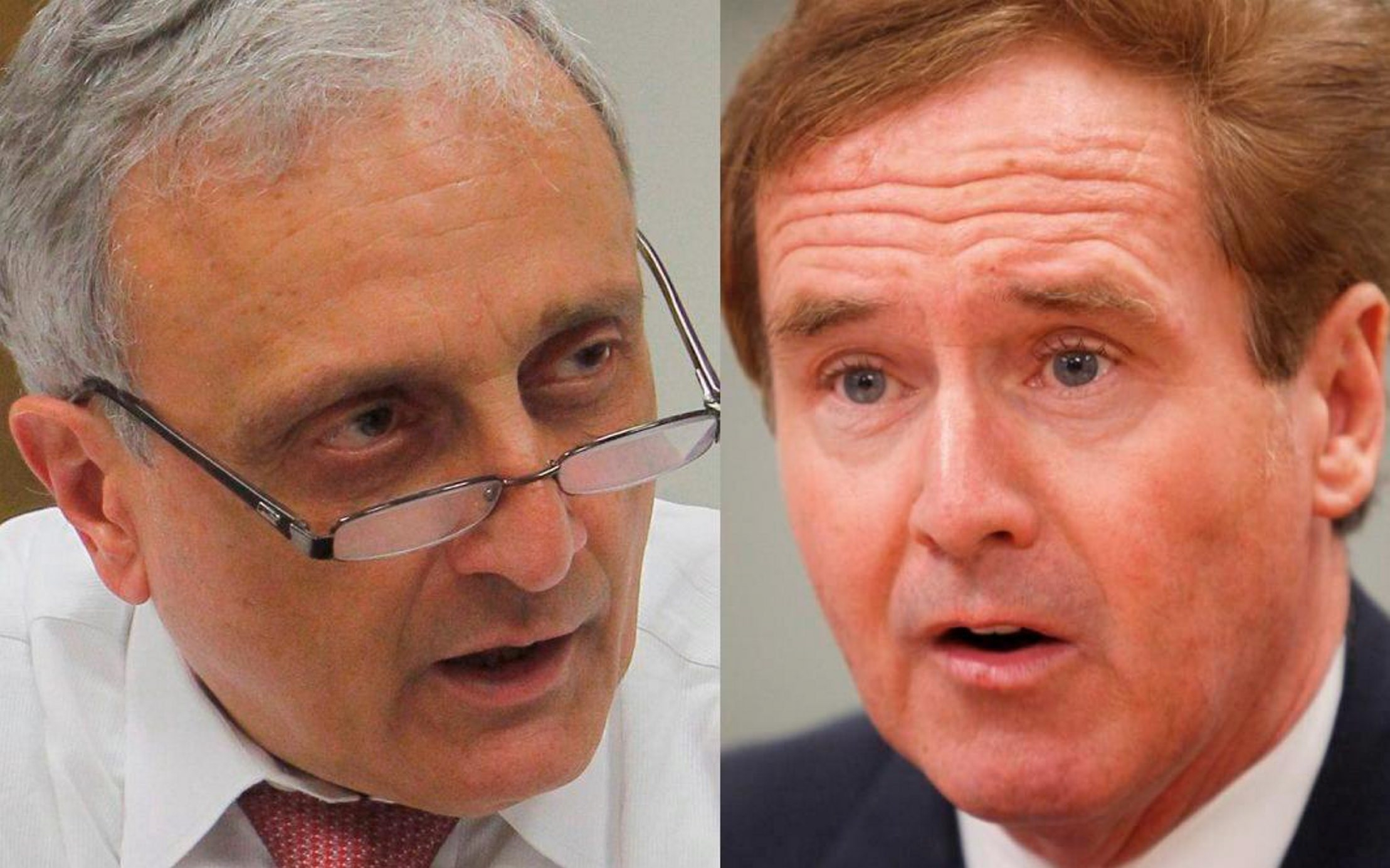 Developer Carl Paladino, left, and Rep. Brian Higgins, once called each other friends. But a feud sparked by differences over abortion and health care has blown up into a war of words in which each has called the other's integrity into question. (Buffalo News file photos)