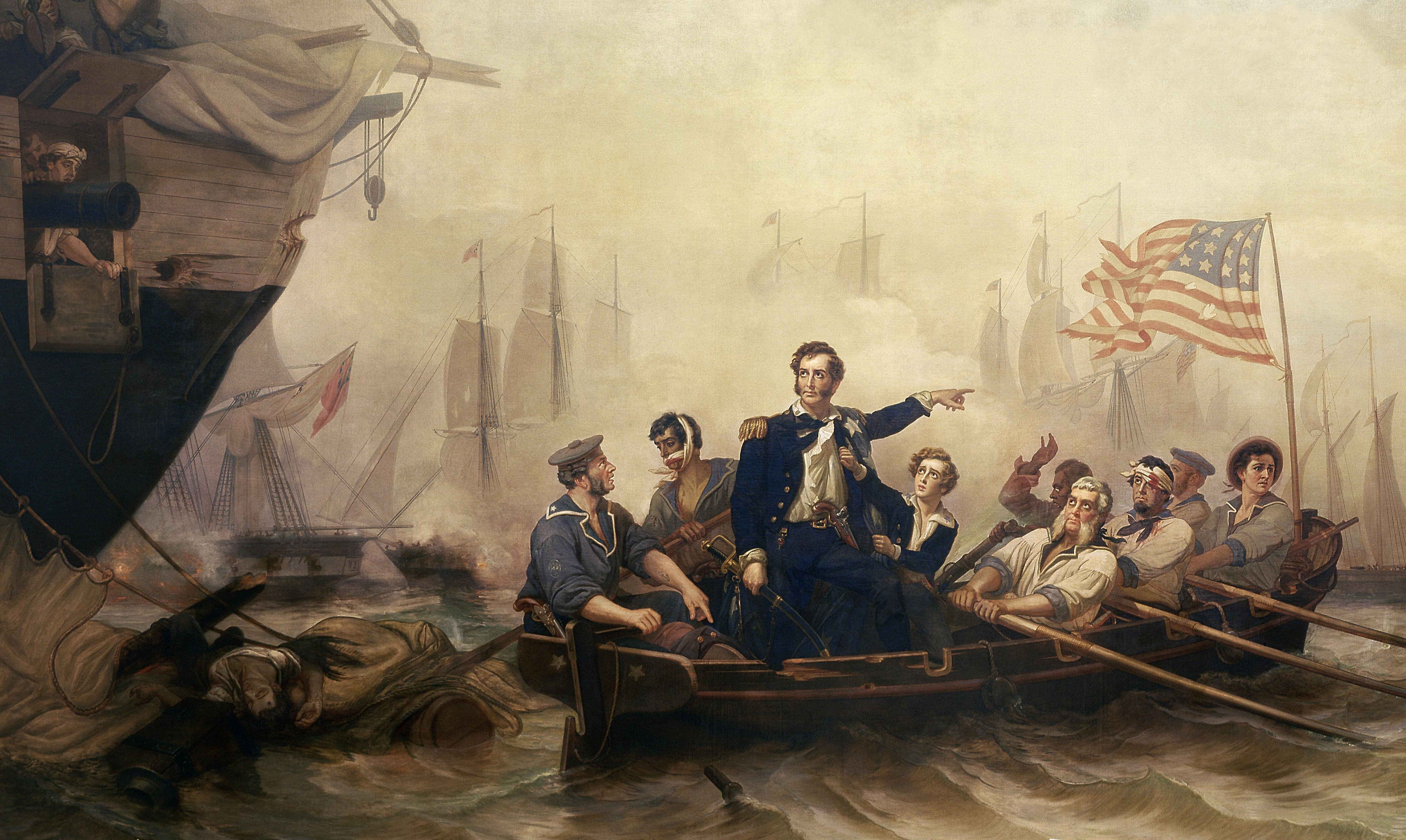Oliver Hazard Perry used a small boat to transfer from his ruined flagship, the Lawrence, to the Niagara during the War of 1812's Battle of Lake Erie.
