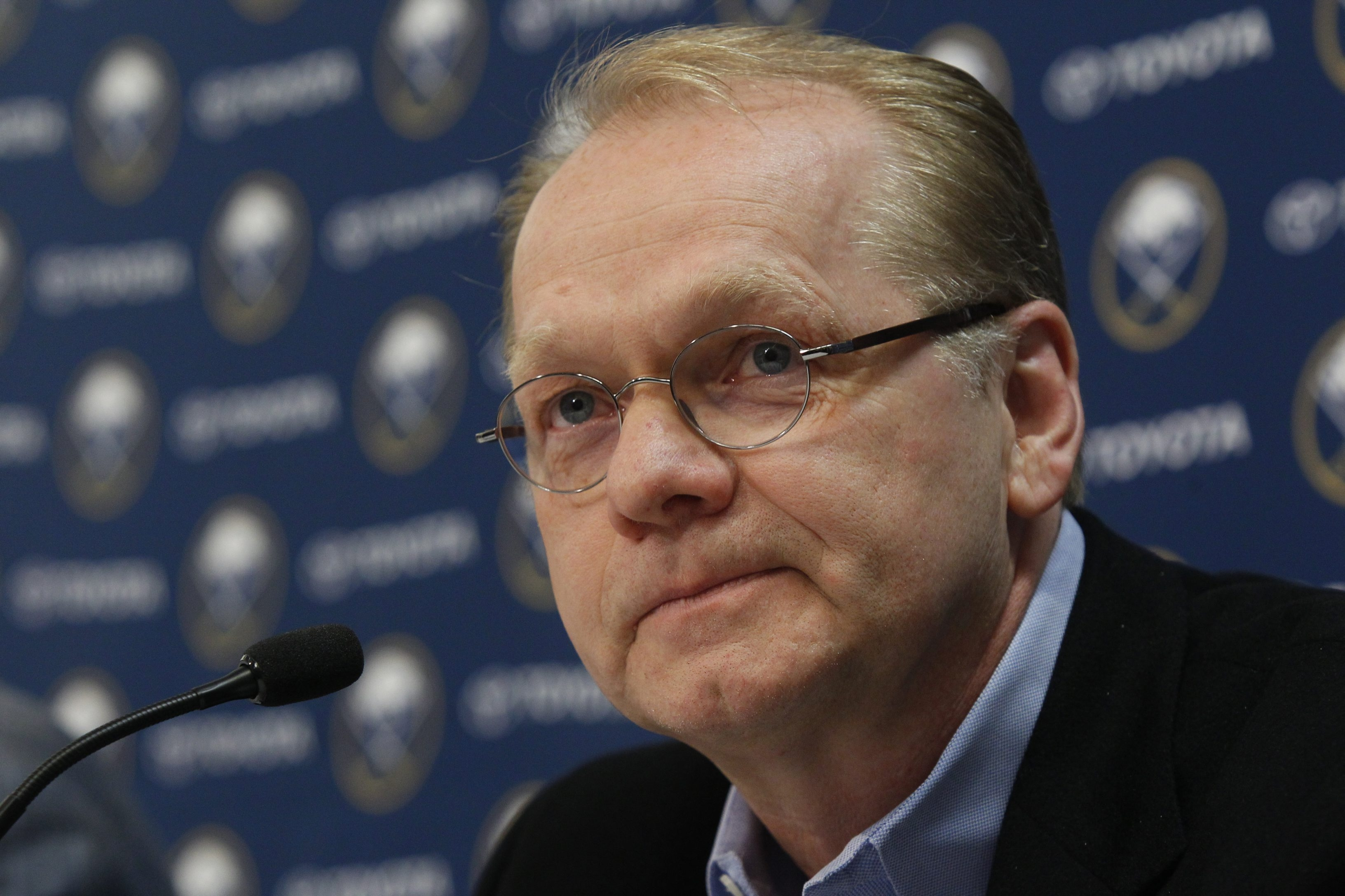 Sabres' general manager Darcy Regier remains in charge of the team's hockey operations, and says there will be future suffering to endure in order to win a Stanley Cup. (Harry Scull Jr./Buffalo News)