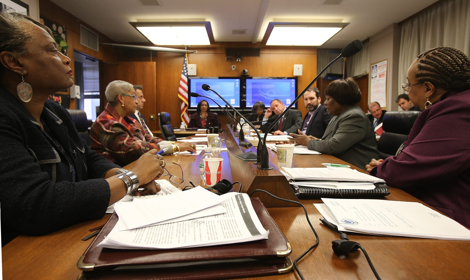The six district seats on the nine-member Board of Education, shown here at a meeting earlier this year, are up for election. ( Photo by Charles Lewis/Buffalo News)