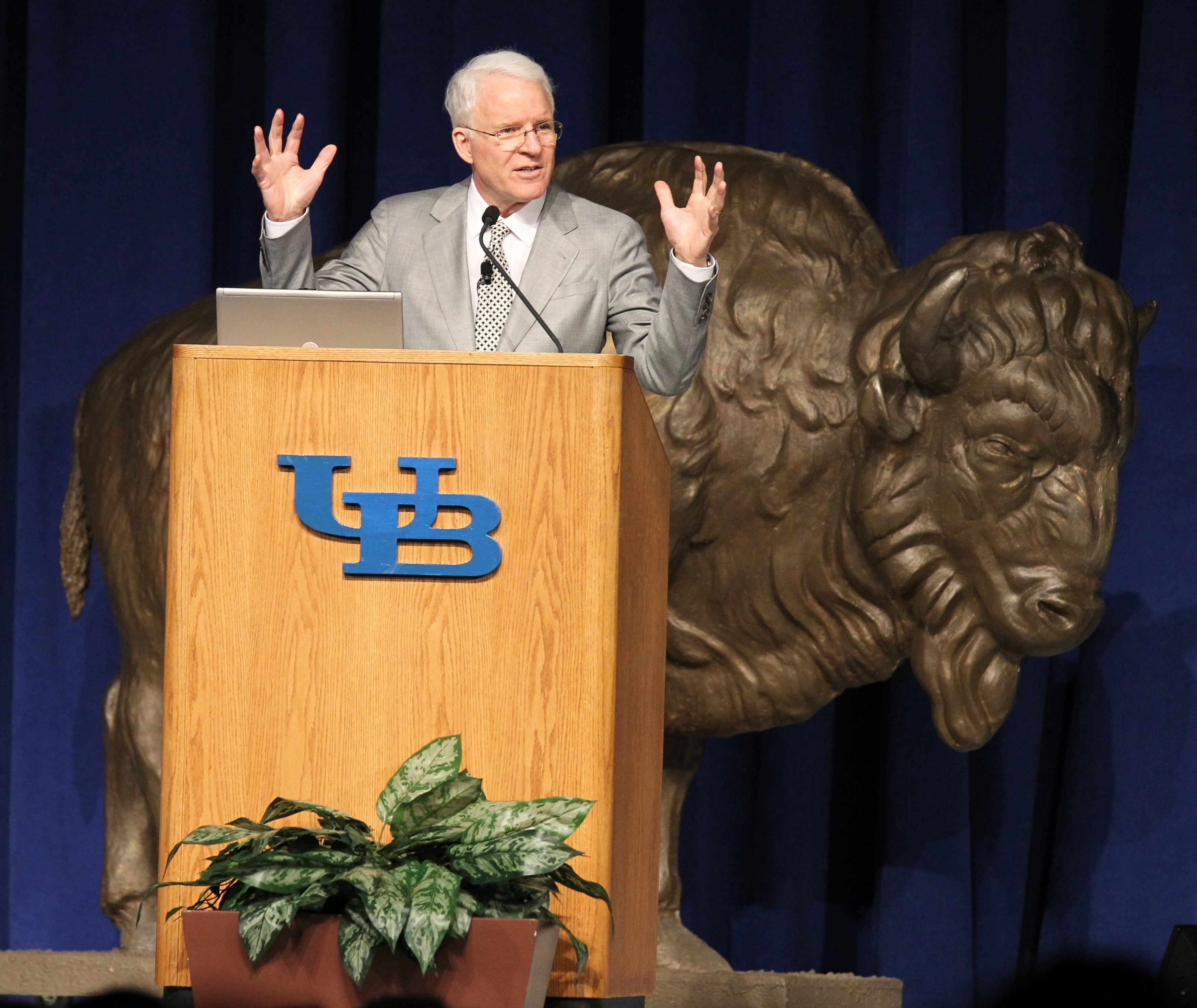 Funny guy Steve Martin, appearing as part of the UB Distinguished Speaker Series, took a break from comedy at Alumni Arena Saturday.