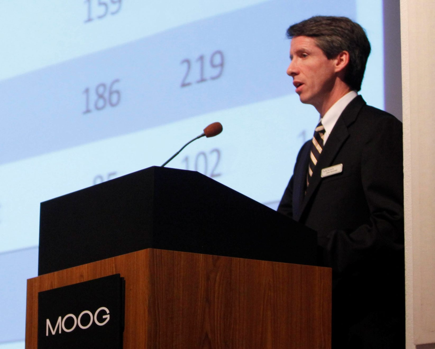 Moog Inc. CEO John Scannell said Friday that the company is adjusting to the new economic reality in defense spending.