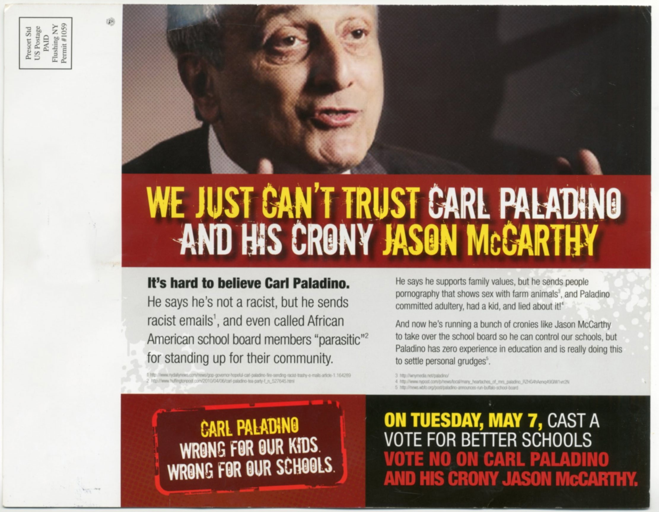 Mailer was sent to North, Central and West districts linking candidates there with Park District candidate Paladino.
