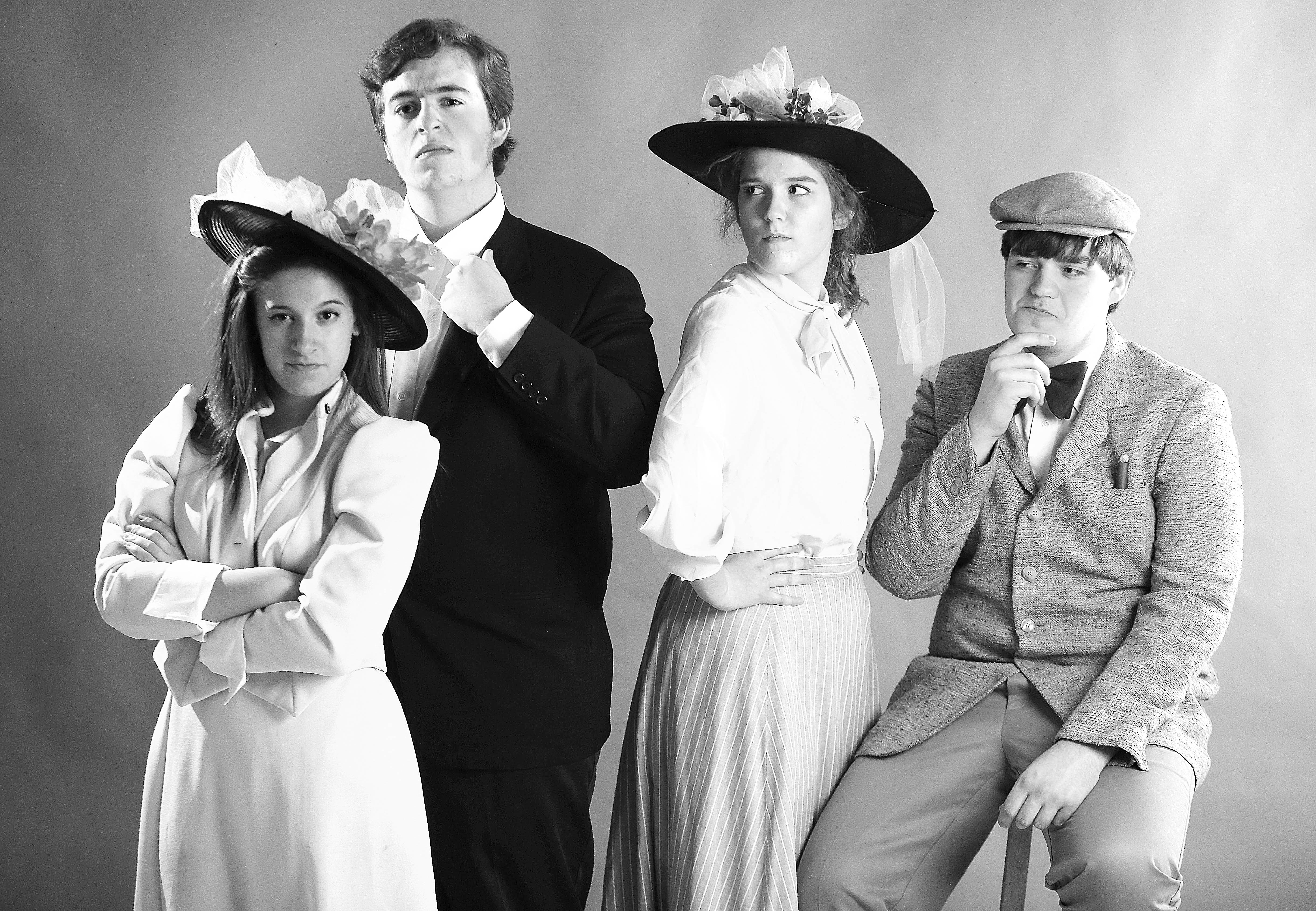 From left, Heidi Schneider as (Dolly Levi), James Lillin (as Horace Vandergelder), Courtney Torgalski (as Irene Molloy) and Tyler Mecklenburg (as Malachi Stack) in The Matchmaker at Hamburg HS.  This was in the News studio on Wednesday, April 17, 2013.  (Robert Kirkham/Buffalo News)