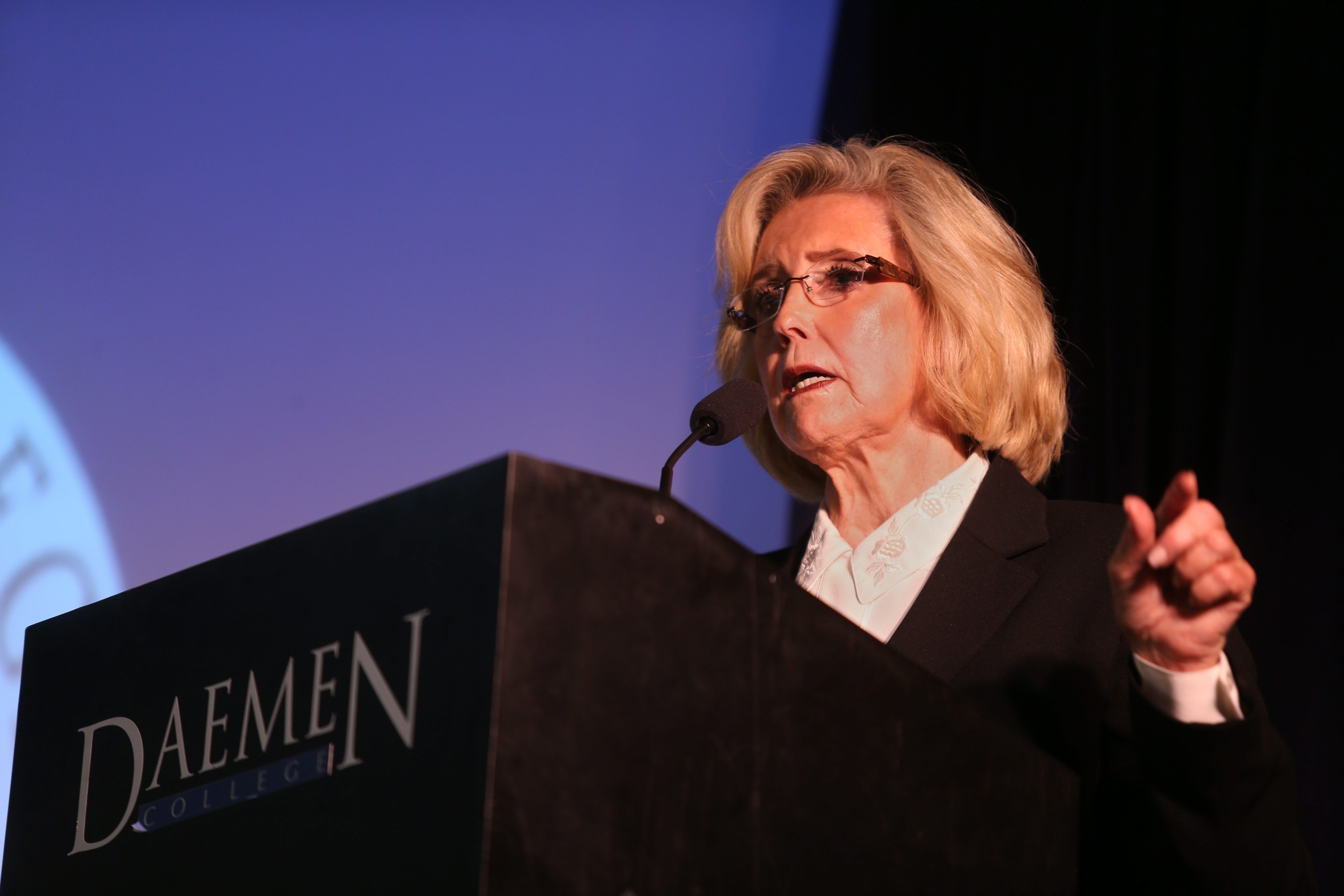 Lilly Ledbetter, speaking Monday at Daemen College in Snyder, describes her battle for pay equity for women.