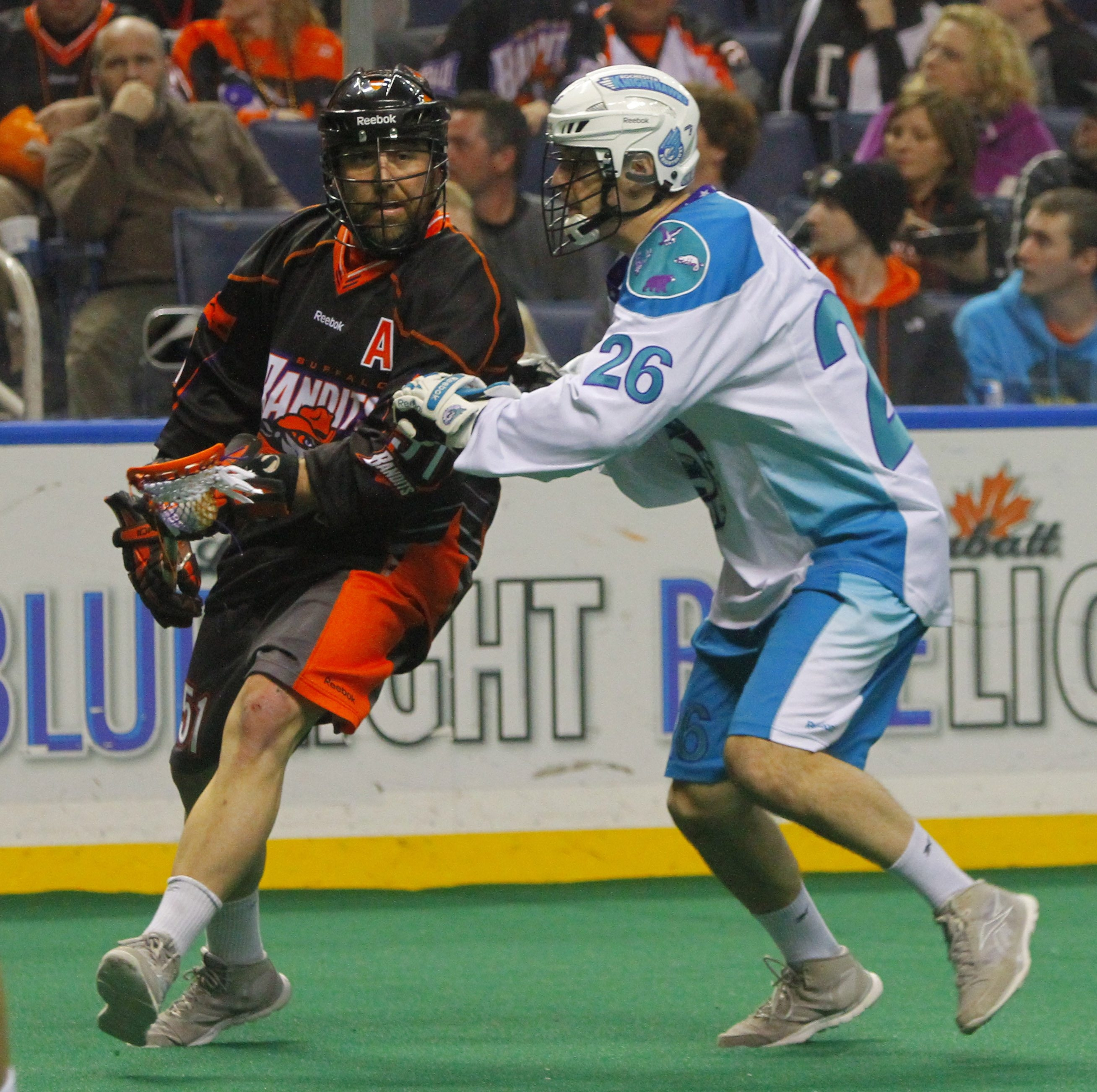 The Bandits' Shawn Williams presses in as Rochester's Mike Kirk defends during Saturday night's game.