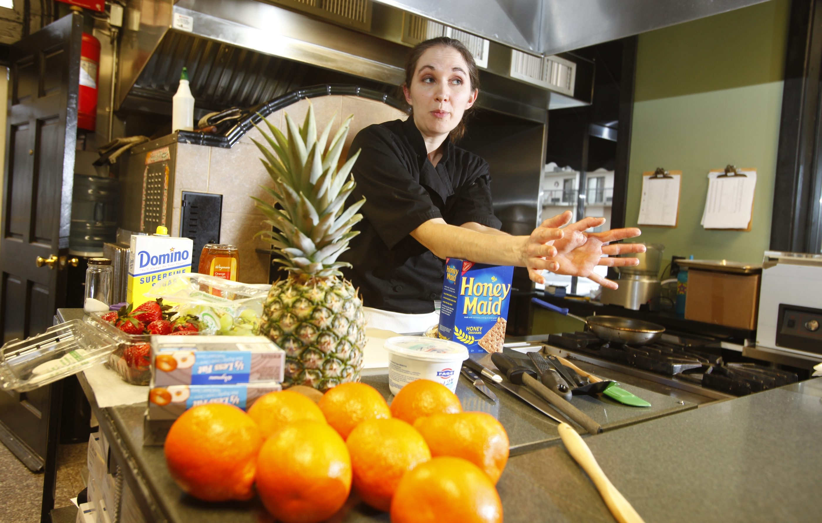 """""""We're trying to slowly incorporate more from-scratch food … doing fresh soups every day, fresh vegetables."""" — Jackie Frost, school cafeteria chef and consultant"""
