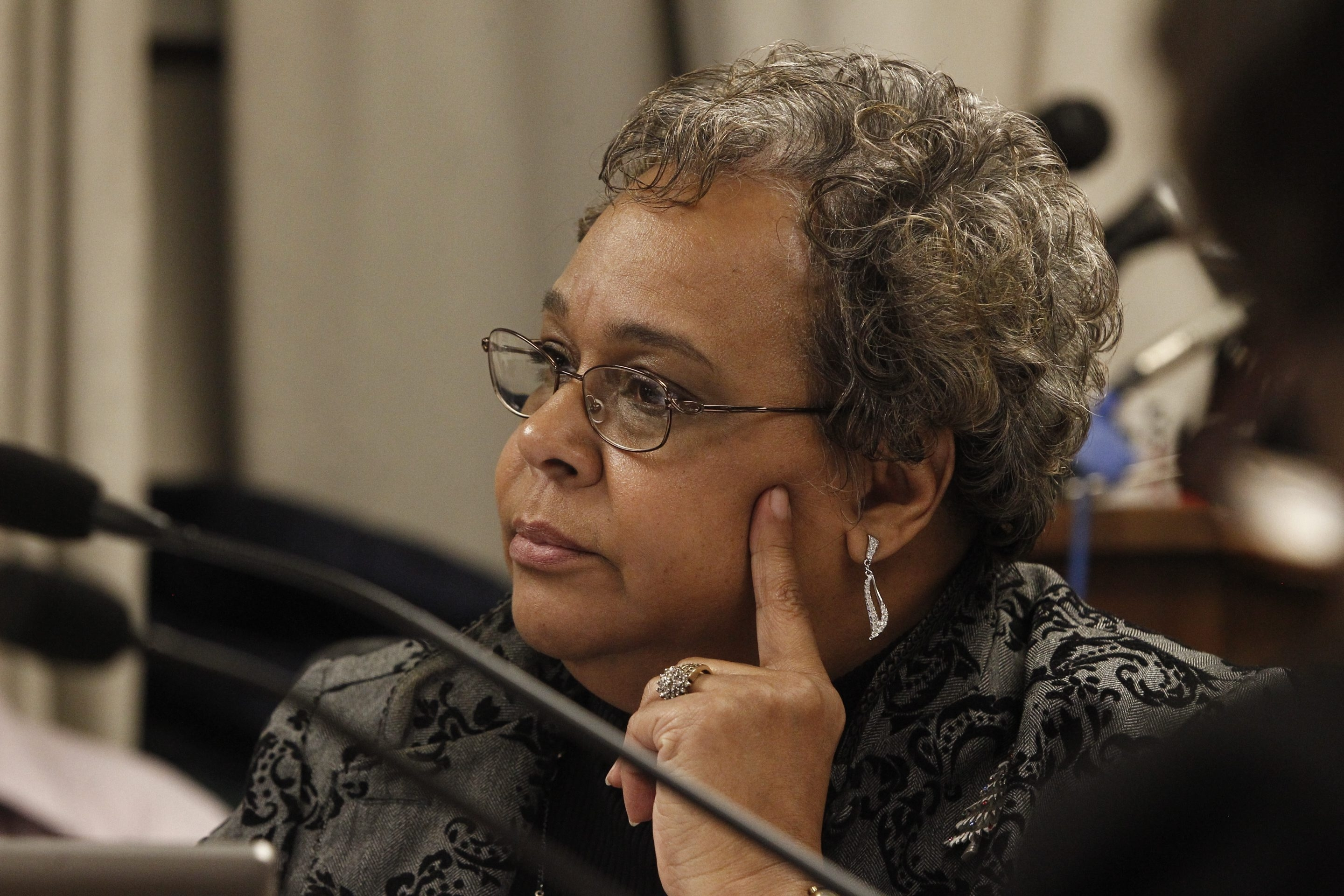 { FOR LOCAL } School Board Member Rosalyn Taylor at a  important School Board meetings of the year, when the board votes on turnaround plans for seven low-performing schools at Buffalo City School Board Meeting at City Hall   in Buffalo, N.Y.  Wednesday, Dec. 14, 2011.    {Photo by John Hickey / Buffalo News}