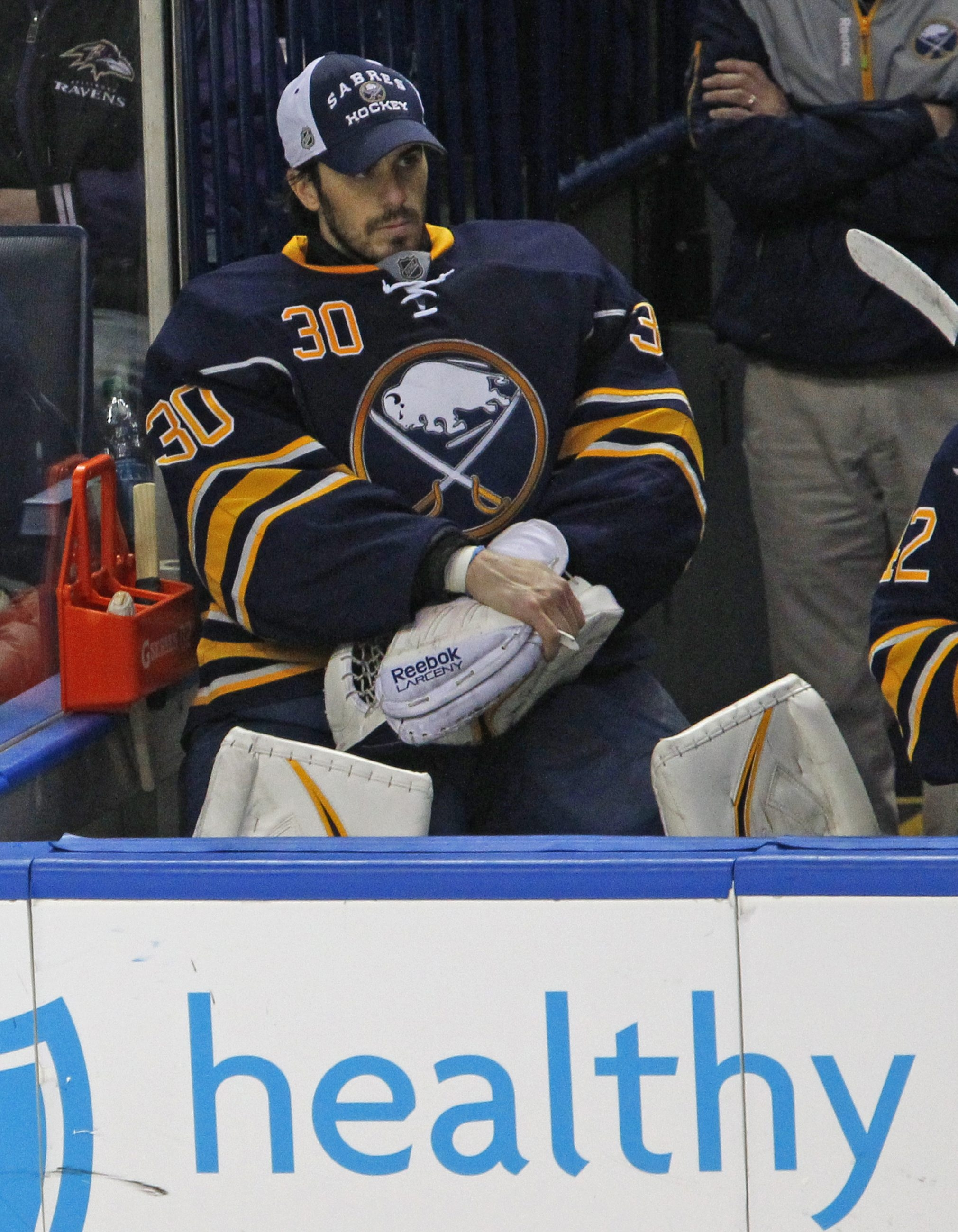 Buffalo Sabres goalie Ryan Miller watches the action from the bench after being pulled early in the second period. He yielded the first four goals during a Rangers' five-goal blitz in just under three minutes  and waved to the crowd after receiving his second Bronx cheer of the game. (Harry Scull Jr. / Buffalo News)