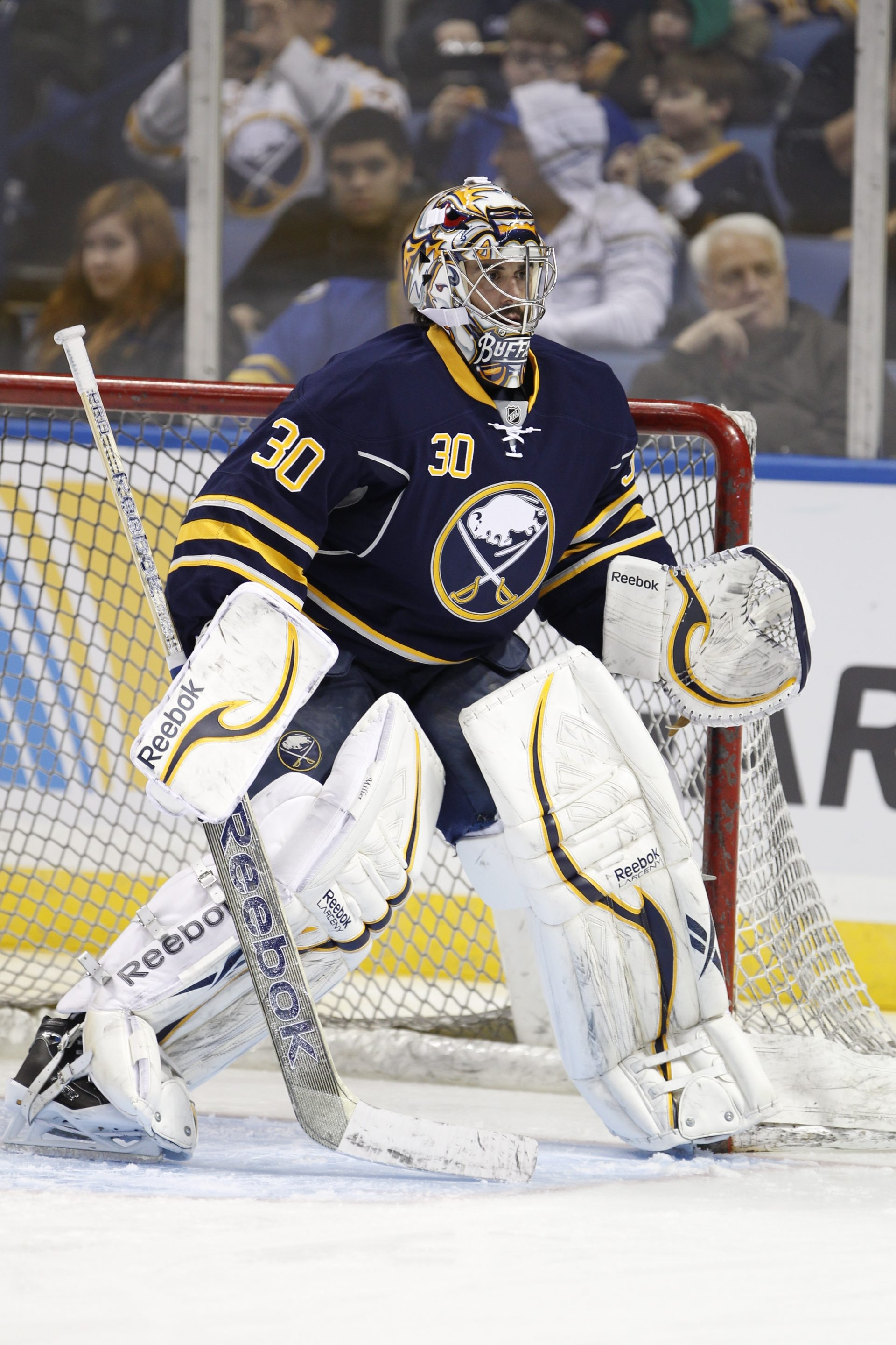 Goaltender Ryan Miller and the Sabres have kept themselves in the playoff chase even after the trading of three veterans.   { to go with SPORTS   STORY}  Buffalo Sabre, Ryan Miller,(30),  at the First Niagara Center ,on Monday, Jan. 14, 2013.  {Photo by Harry Scull Jr. / Buffalo News}