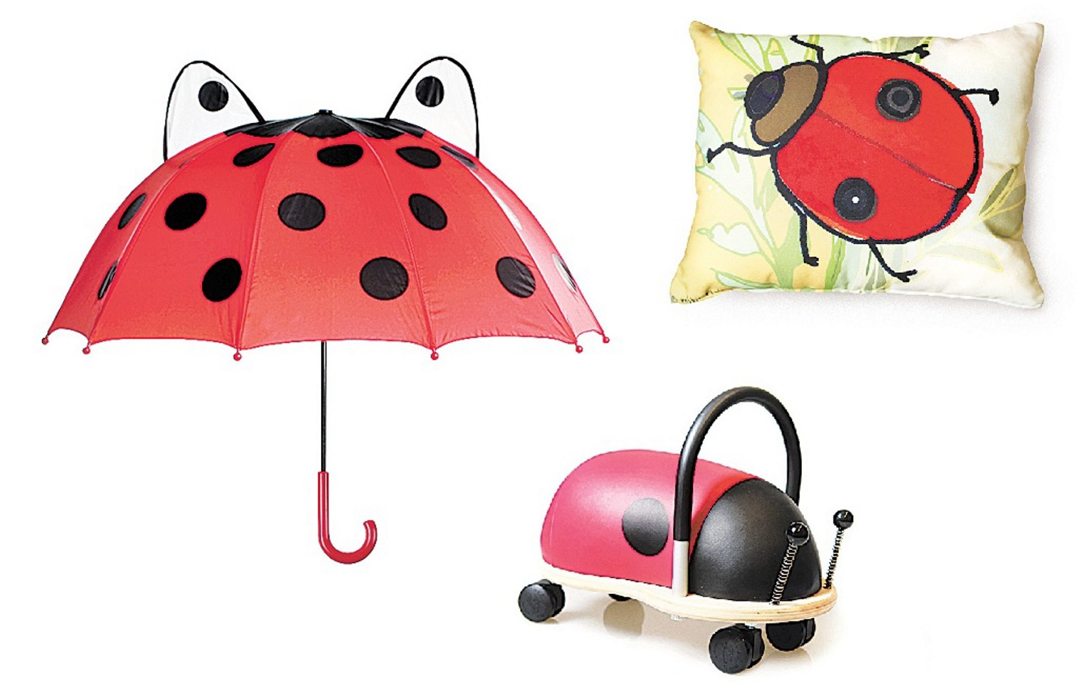 Ladybugs are everywhere, on an umbrell by Kidorable, an outdoor pillow with a Robbin Rawlings design and a Wheely Bug scooter.