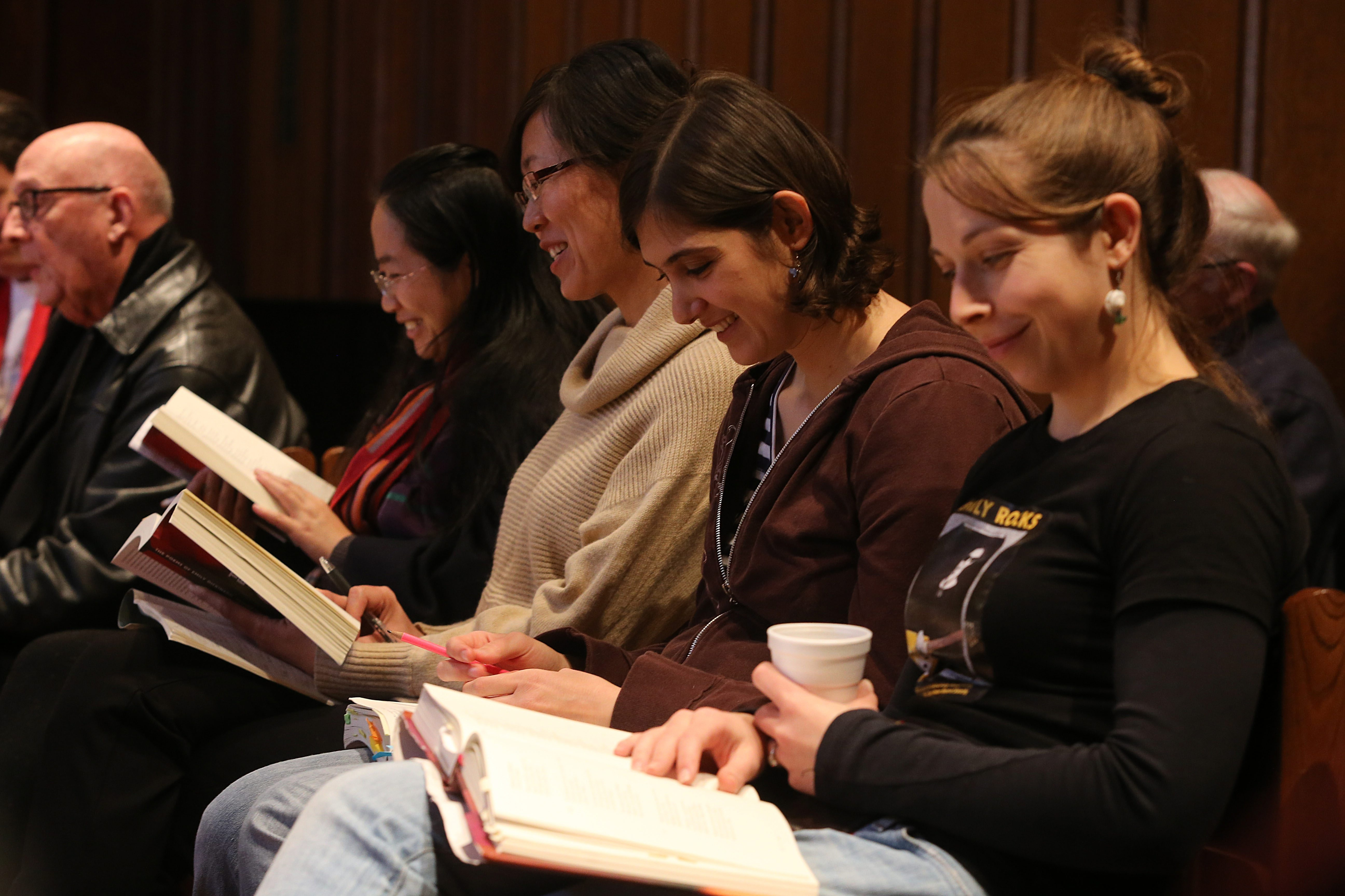 Participants take turns reading passages during an Emily Dickinson reading marathon at Westminster Presbyterian Church in Buffalo, Saturday, April, 13, 2013. Pictured, l to r, are: Yan bin Kang, Jine Wang, Ursula Caci and Kate Dunning. (Charles Lewis/Buffalo News)