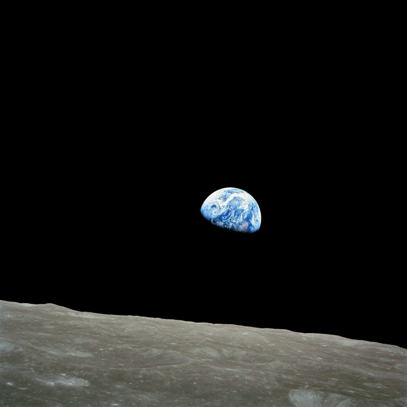 NASA-Apollo8-Dec24-1968-Earthrise in one or two lines of cutline