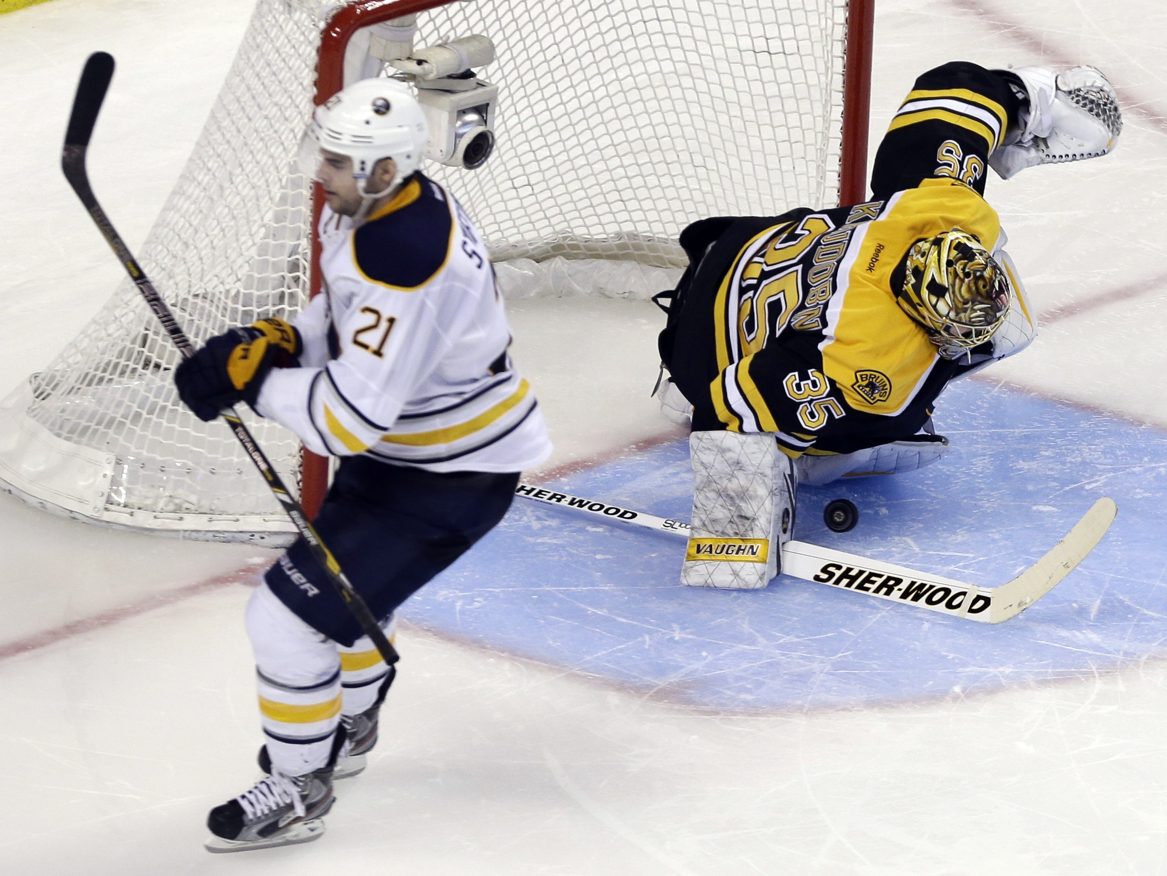 Sabres right wing Drew Stafford scored the only goal of the shootout on the sixth and final shot between the teams, beating Bruins goalie Anton Khudobin for a 3-2 victory.