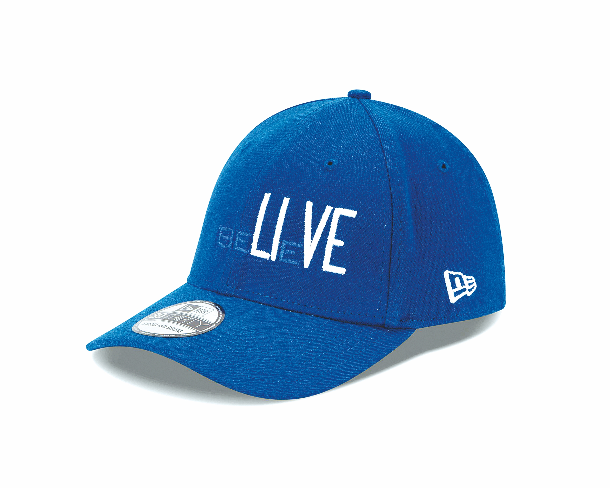 """Oversize lettering accentuates the """"LIVE"""" within """"BELIEVE."""""""