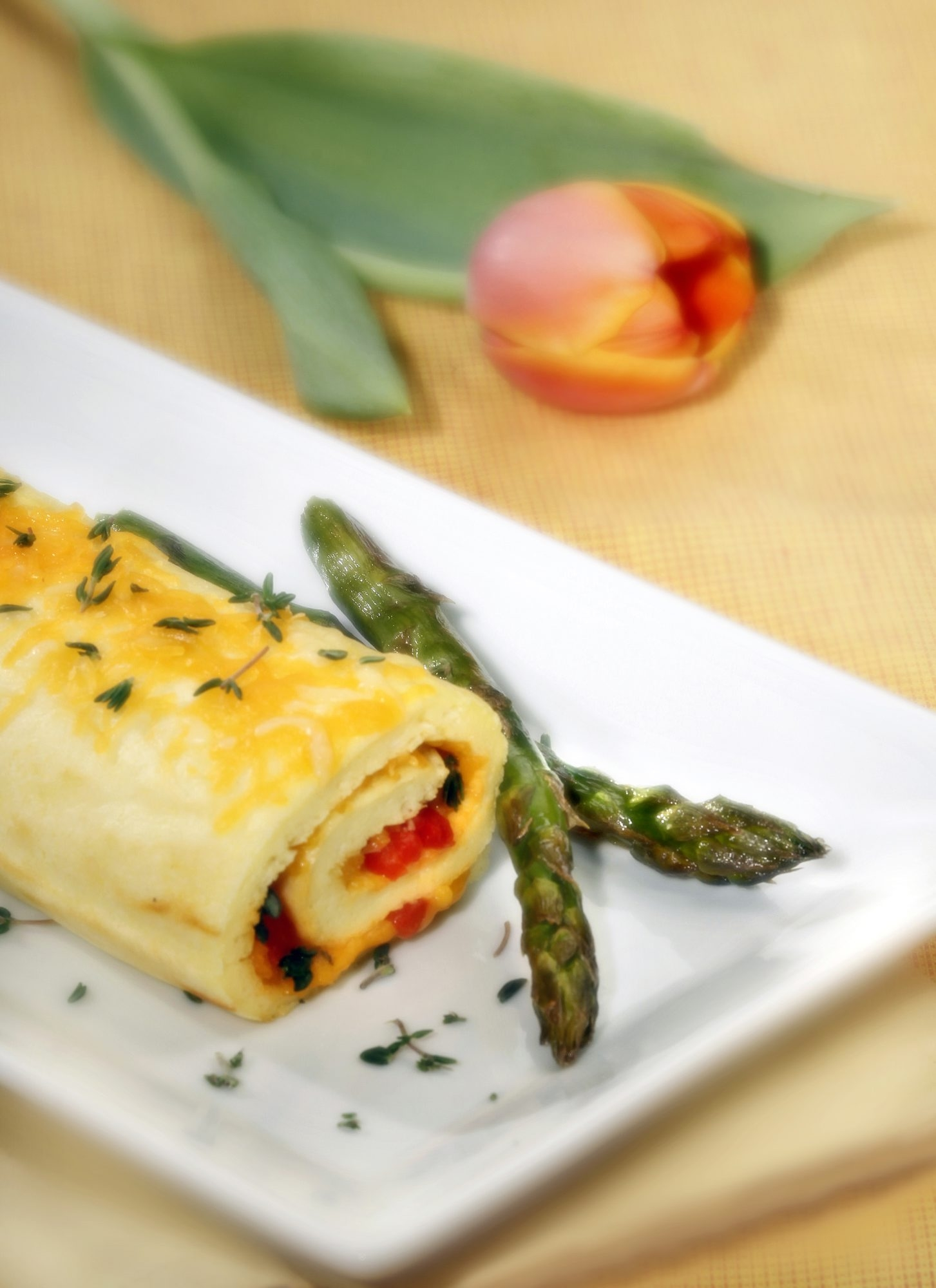Spring brings new ingredients to the table bursting with flavor and bright colors, including a roulade that can be filled with almost anything a cook can imagine, as well as fresh asparagus.