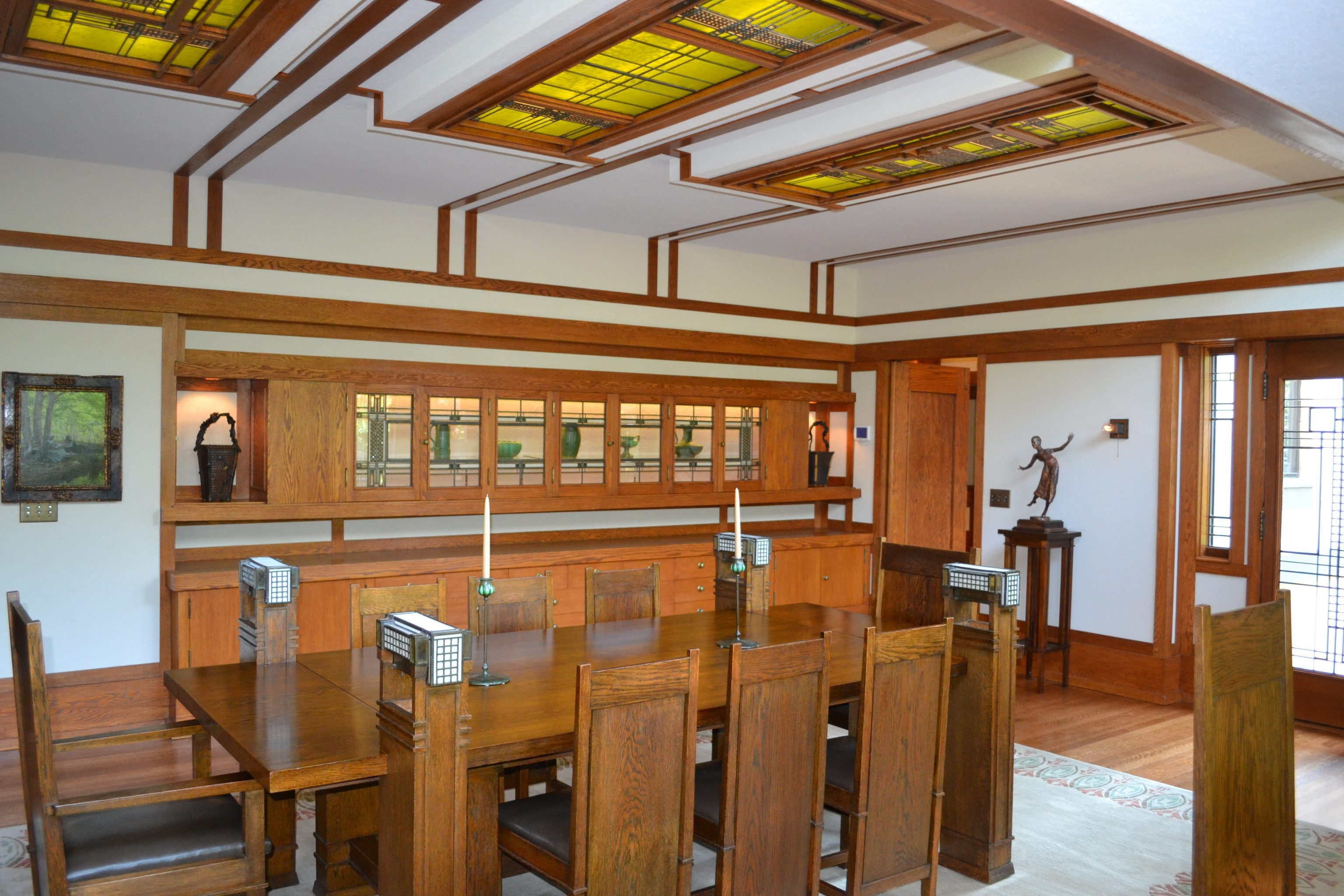 The dining room in Frank Lloyd Wright Boynton House wows visitors.