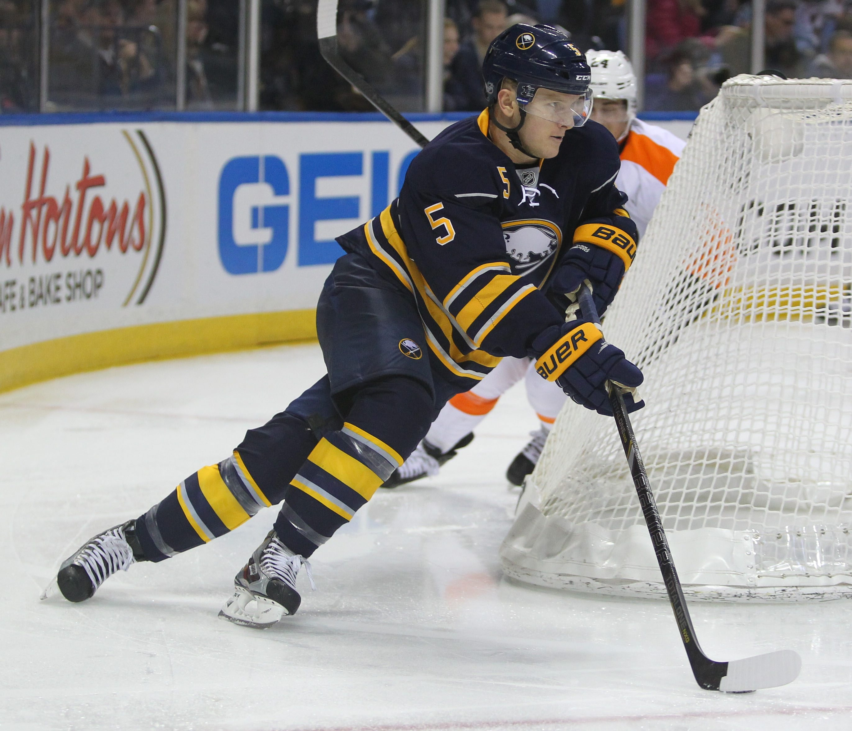 Ex-UMass Lowell defenseman Chad Ruhwedel skated 13 minutes and fired four shots during the Sabres' 1-0 triumph over Philadelphia.