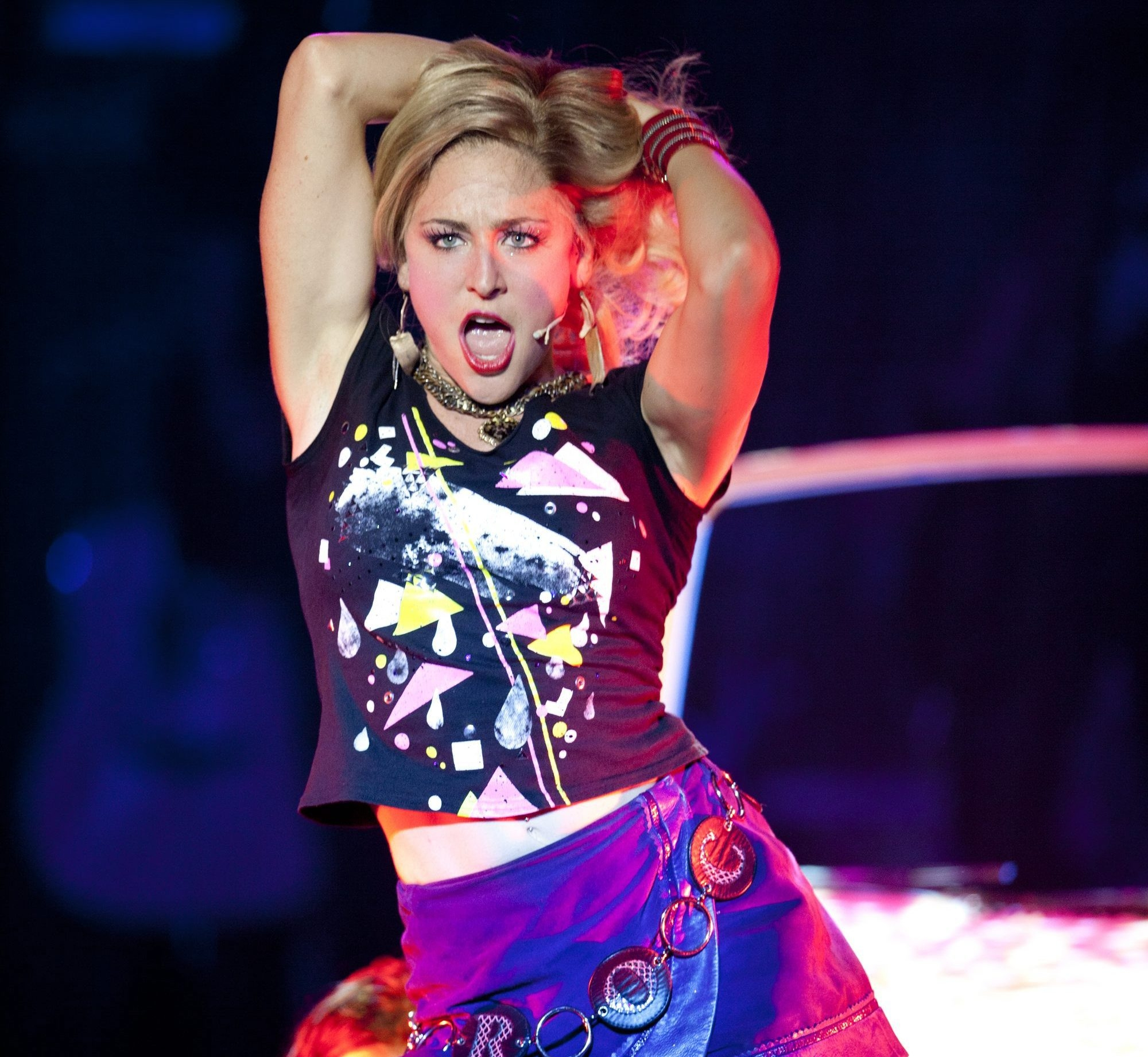 "University at Buffalo grad Shannon Mullen plays Sherrie in ""Rock of Ages."""