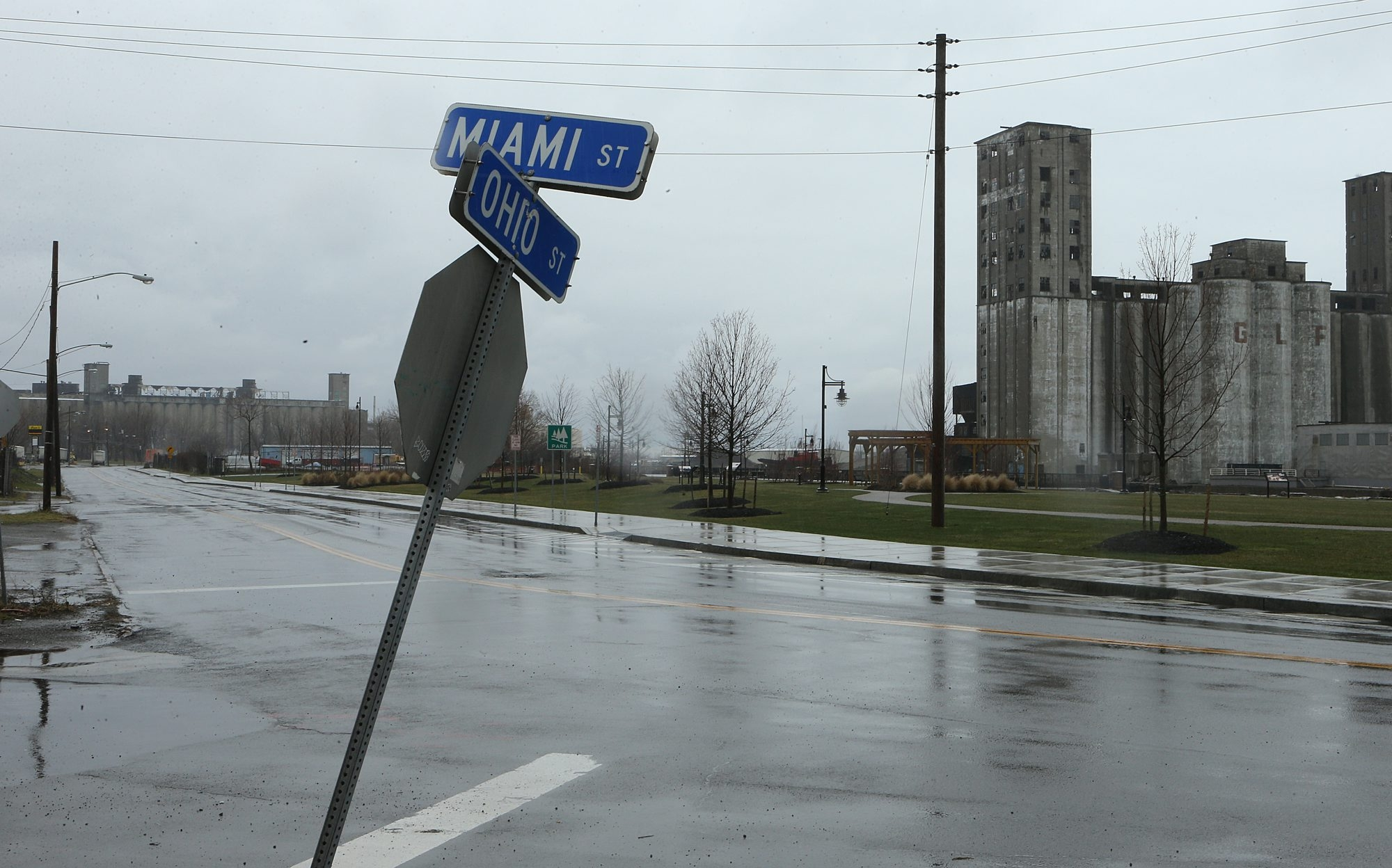 A view of Ohio Street in Buffalo, looking South from Miami St., Thursday, April, 11, 2013. The Erie Canal Harbor Development Corporation will spend 12.8 million to develop the street with parks and bike paths. (Charles Lewis/Buffalo News)