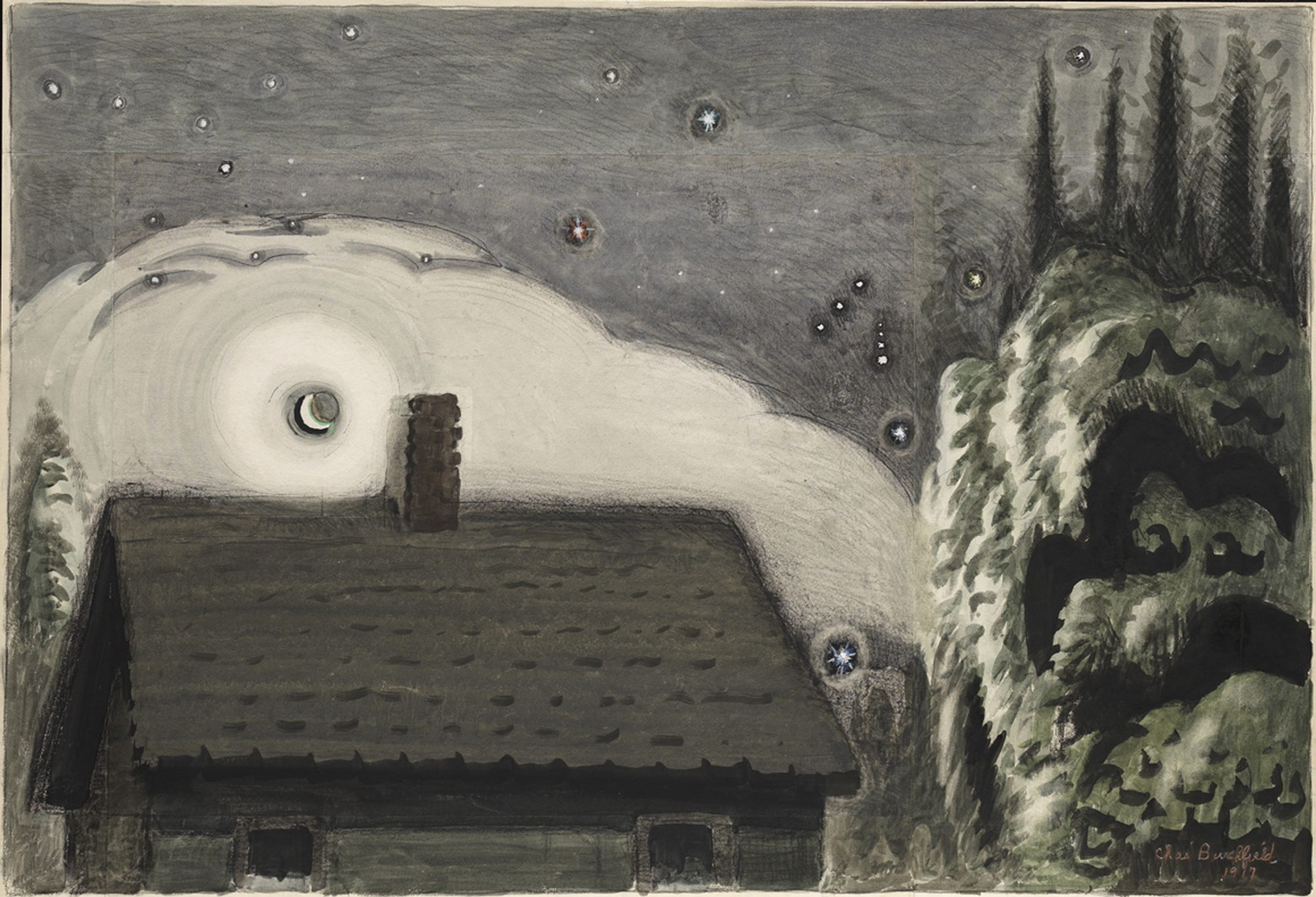 'Orion and the Moon,' a 1917 painting by Charles E. Burchfield, goes on view in the Burchfield Penney Art Center on Friday April 12 as part of the exhibition 'Charles E. Burchfield: Oh My Heavens.'