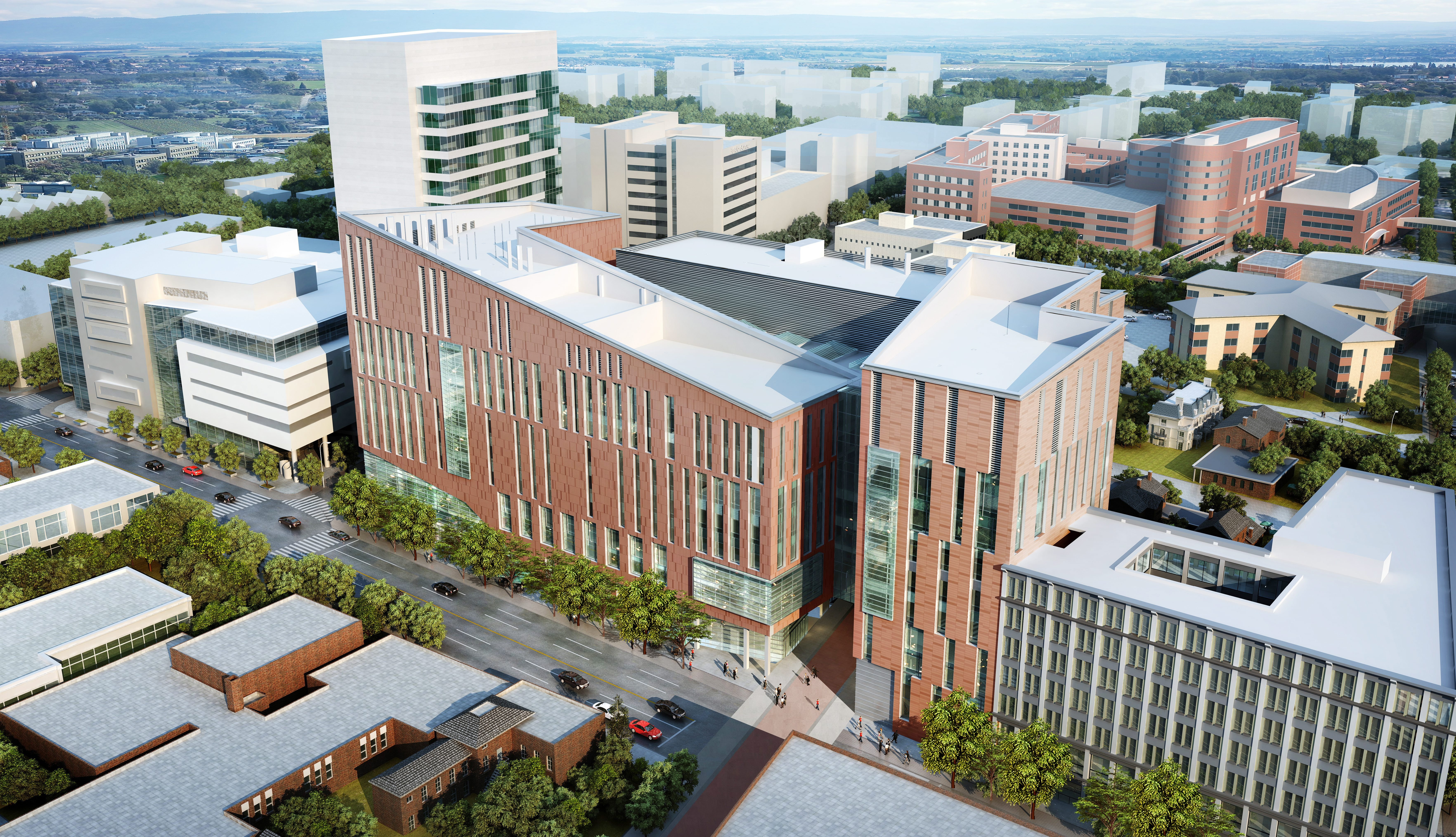 An architect's rendering of the new UB Medical School design.
