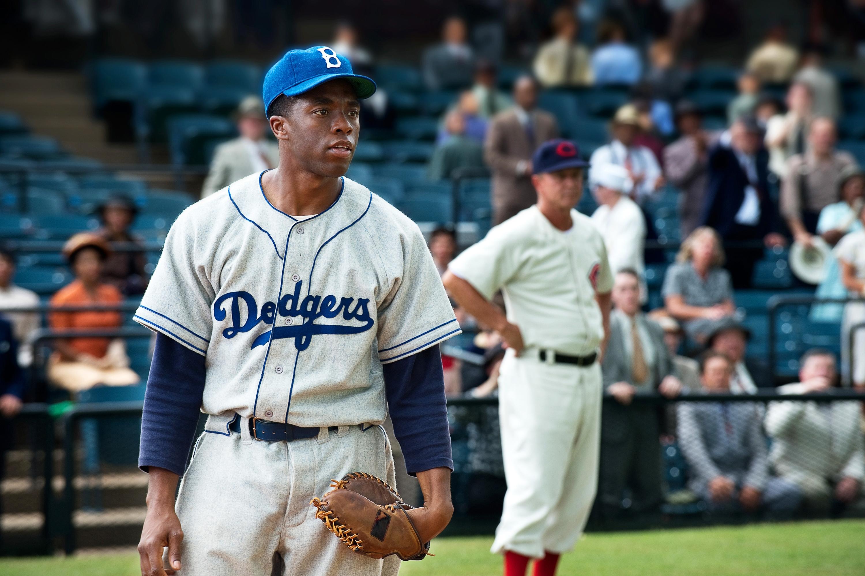 Chadwick Boseman stars as Jackie Robinson in '42.'
