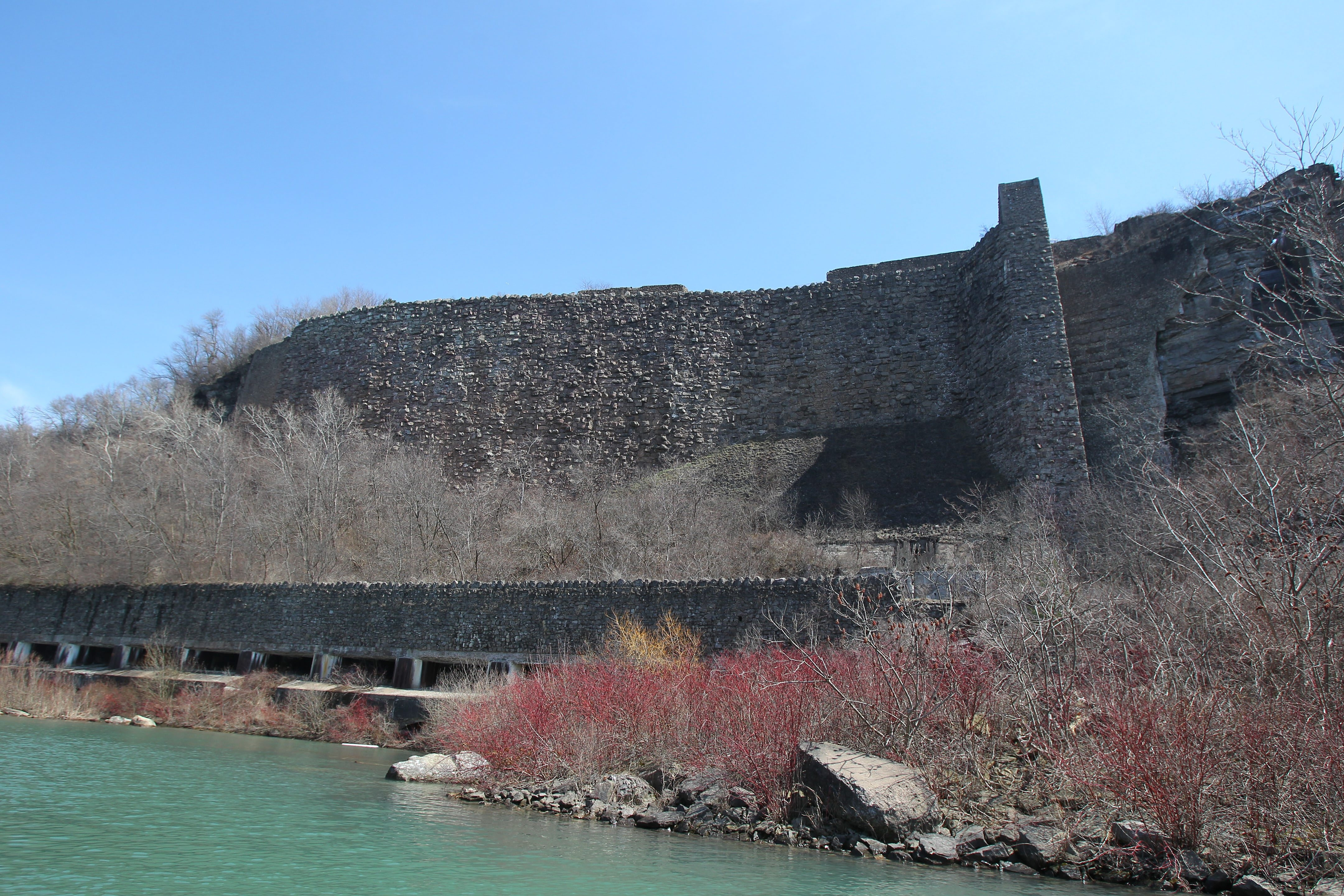 The old Schoellkopf Power Station site is where the Maid of the Mist tour operator wants to build new docks and a boat storage area, but work has been stopped by a court order obtained by the Niagara Preservation Coalition, which says the project would damage the site.