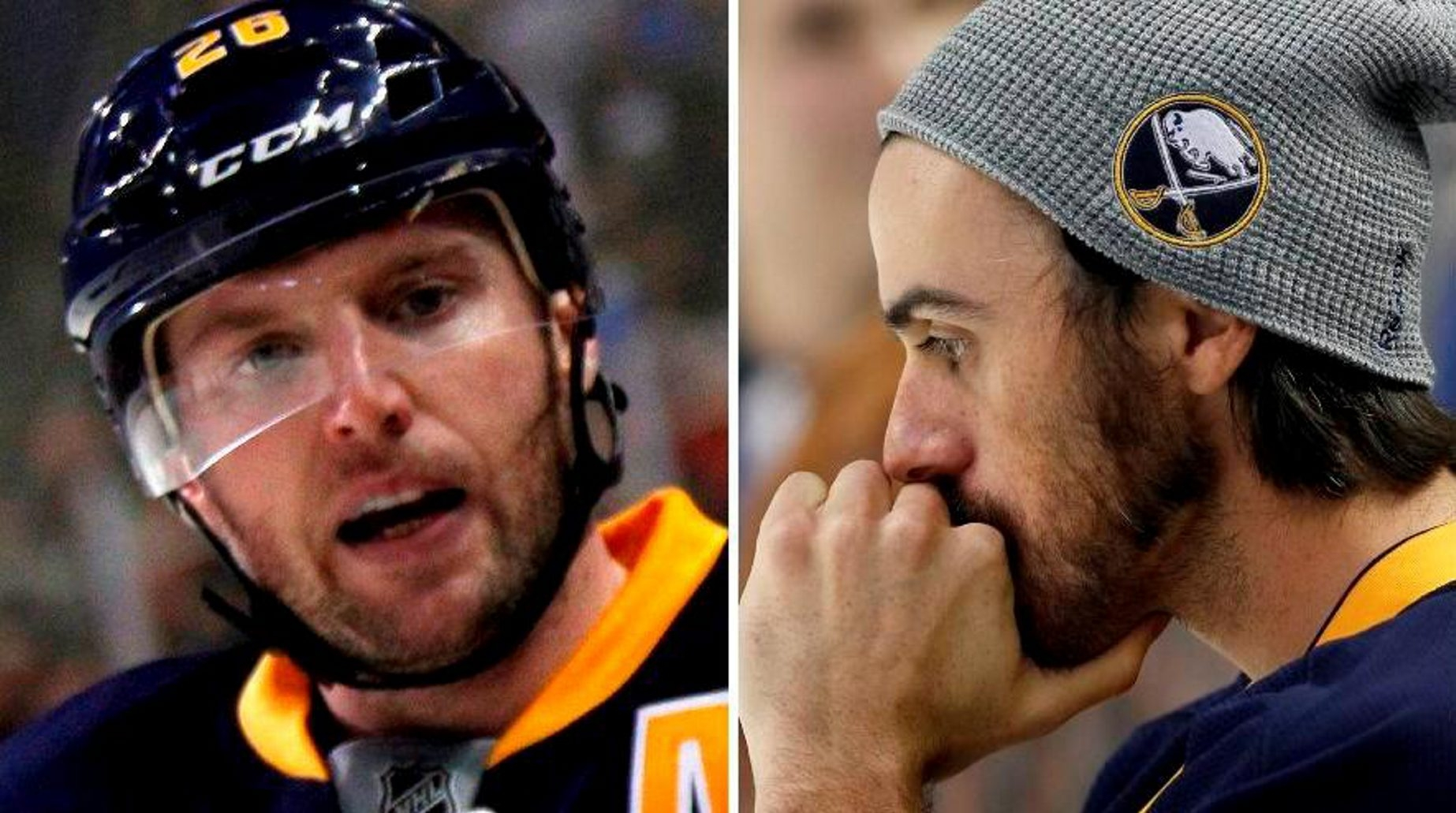 Sabres' winger Thomas Vanek, left, and goalie Ryan Miller both want to talk to general manager Darcy Regier about the future of the team. (Buffalo News file photos)