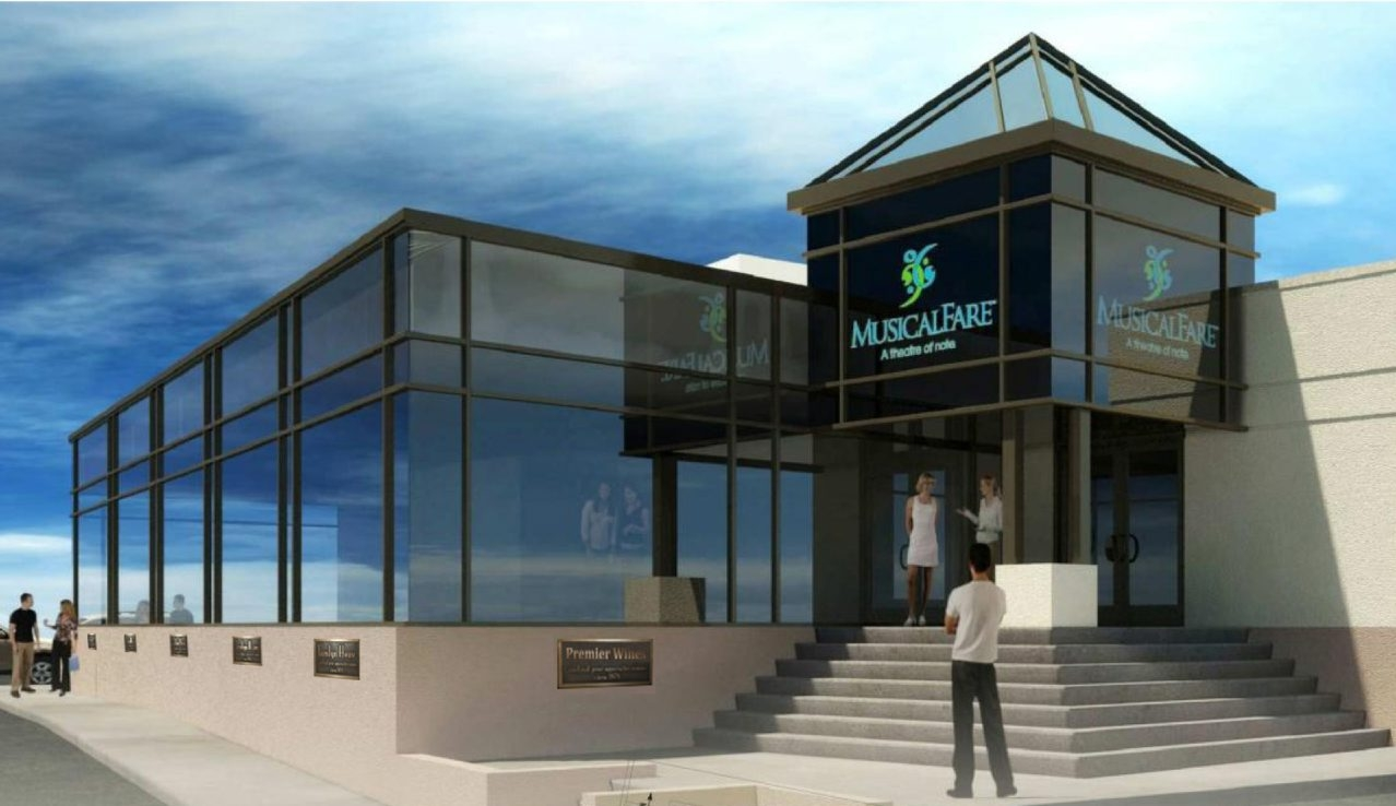 Artist rendering shows new exterior for MusicalFare, which will add cabaret performance space, expand lobby.