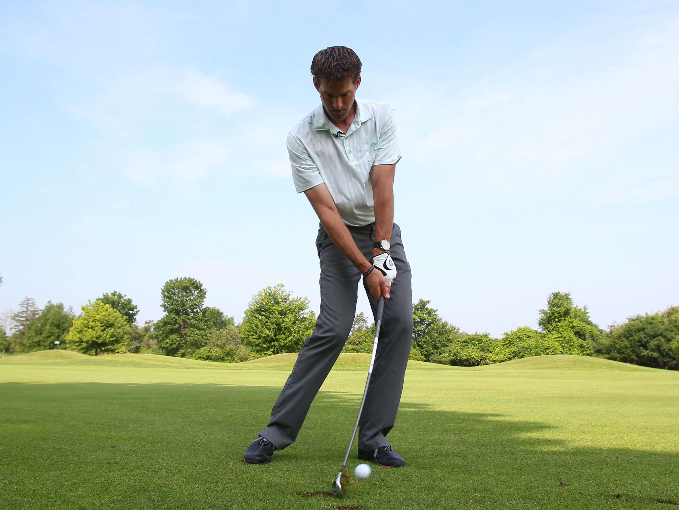 Country Club of Buffalo's Marc Rosa demonstrates his hit-and-hold drill.