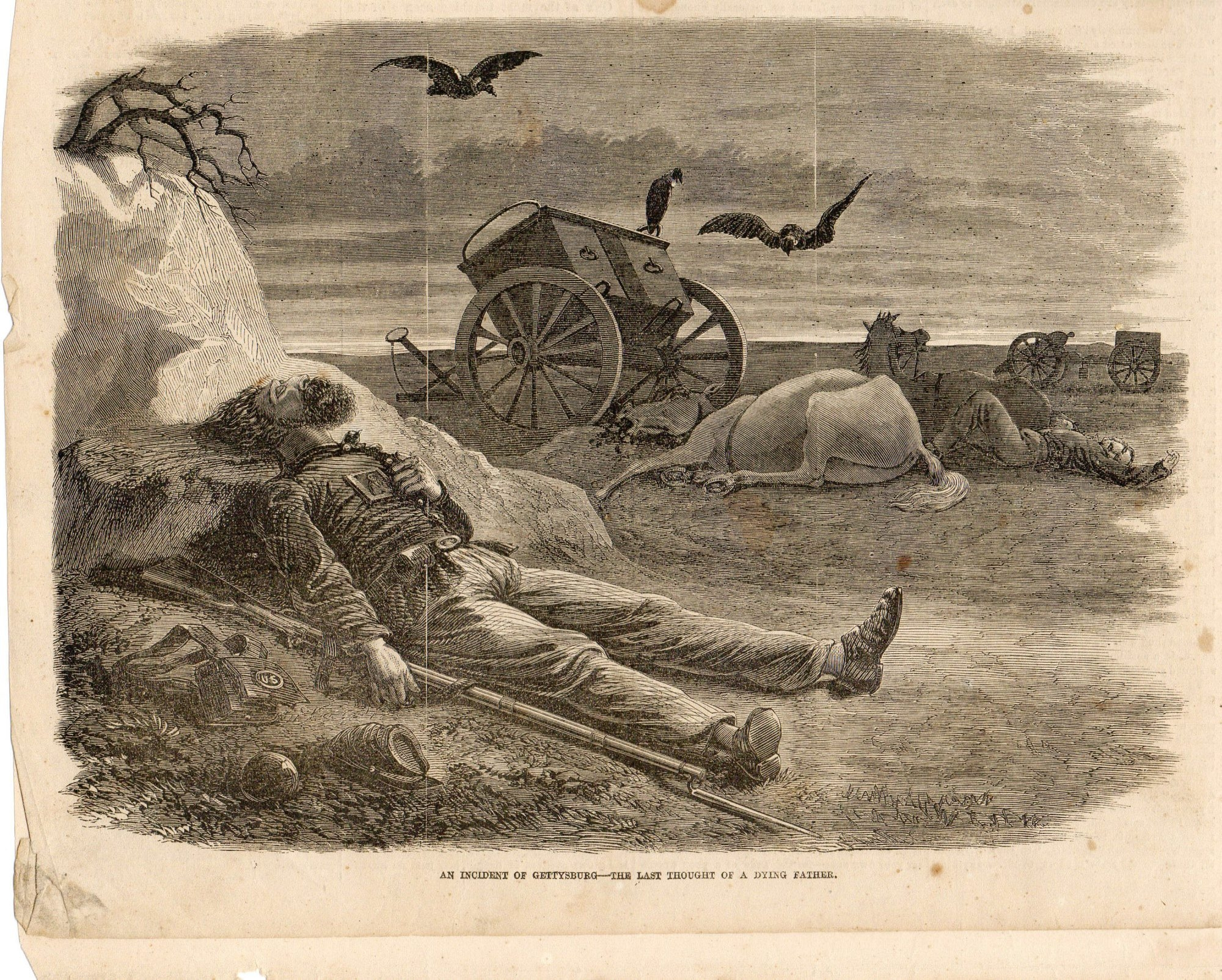 Above is an artist's depiction of Amos Humiston's death pose. The story of the Union soldier who died holding the ambrotype of his childrenand the quest to determine his identity captured the imagination of a war-weary nation.