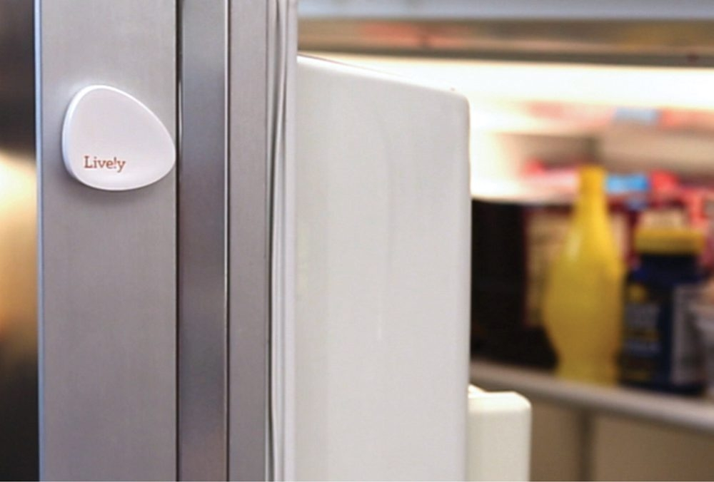 The Lively sensor system can send a text alert if an elderly person has not opened the refrigerator in a while, indicating he or she might not be eating properly.