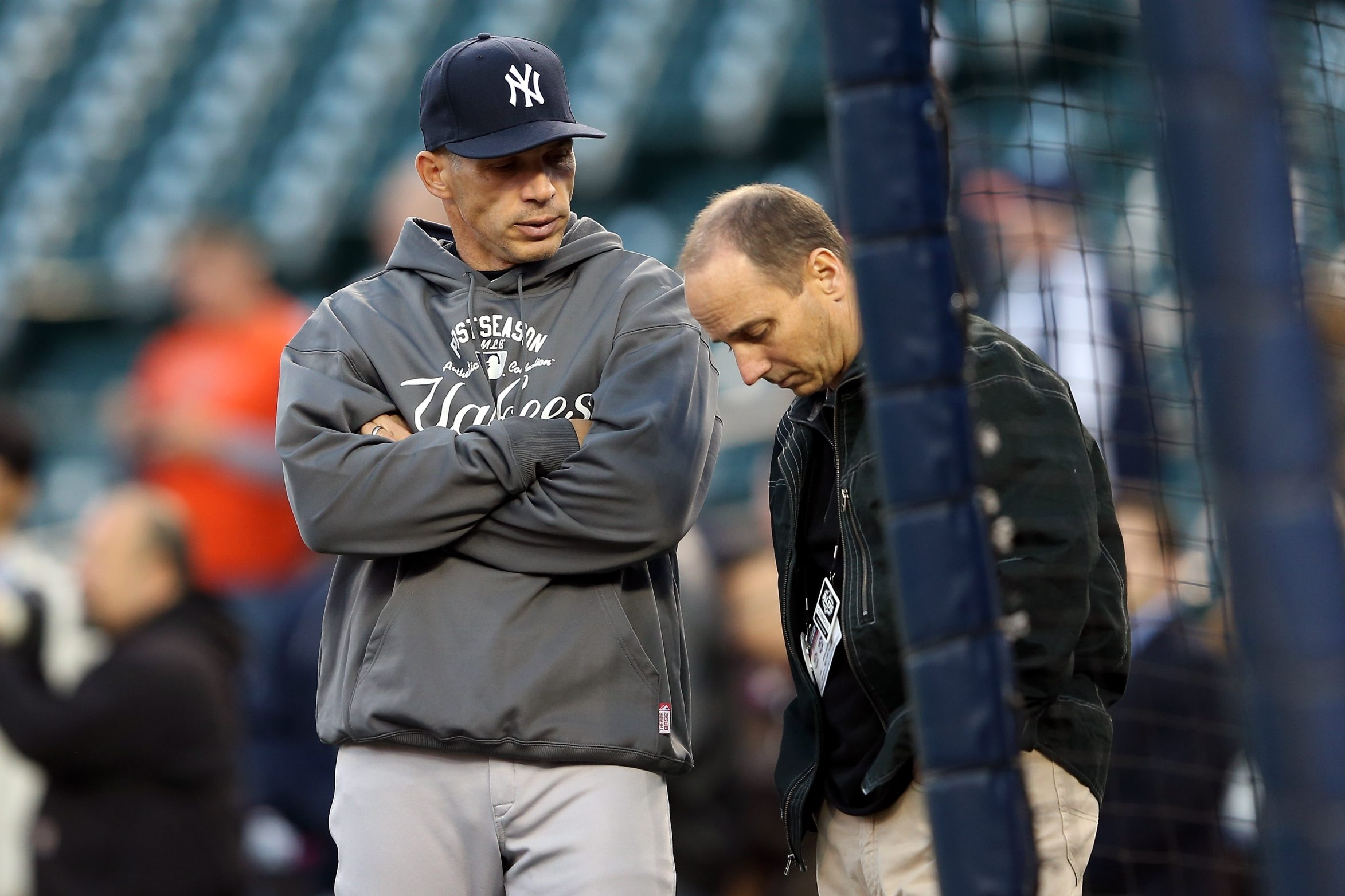 Yankees general manager Brian Cashman (right), pictured with manager Joe Girardi, recently had some choice words for Alex Rodriguez.