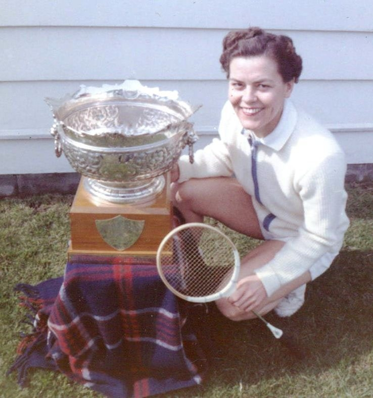 The late Ethel Marshall with some of the hardware she collected in her storied career.