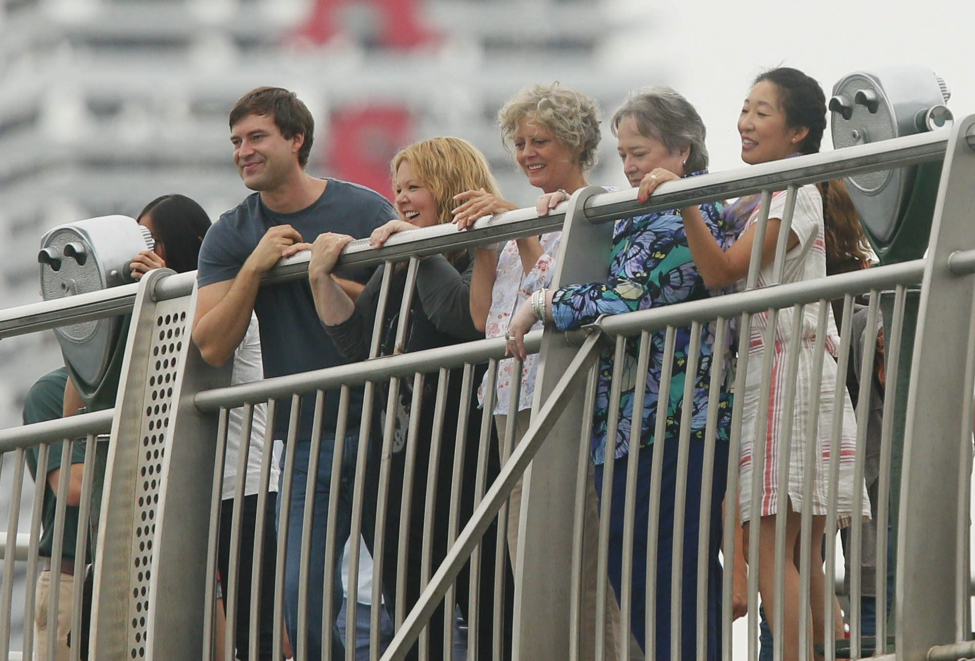 From left, actors Mark Duplass, Melissa McCarthy, Susan Sarandon, Kathy Bates and Sandra Oh film a scene on the Observation Deck. See a gallery of photos at BuffaloNews.com.