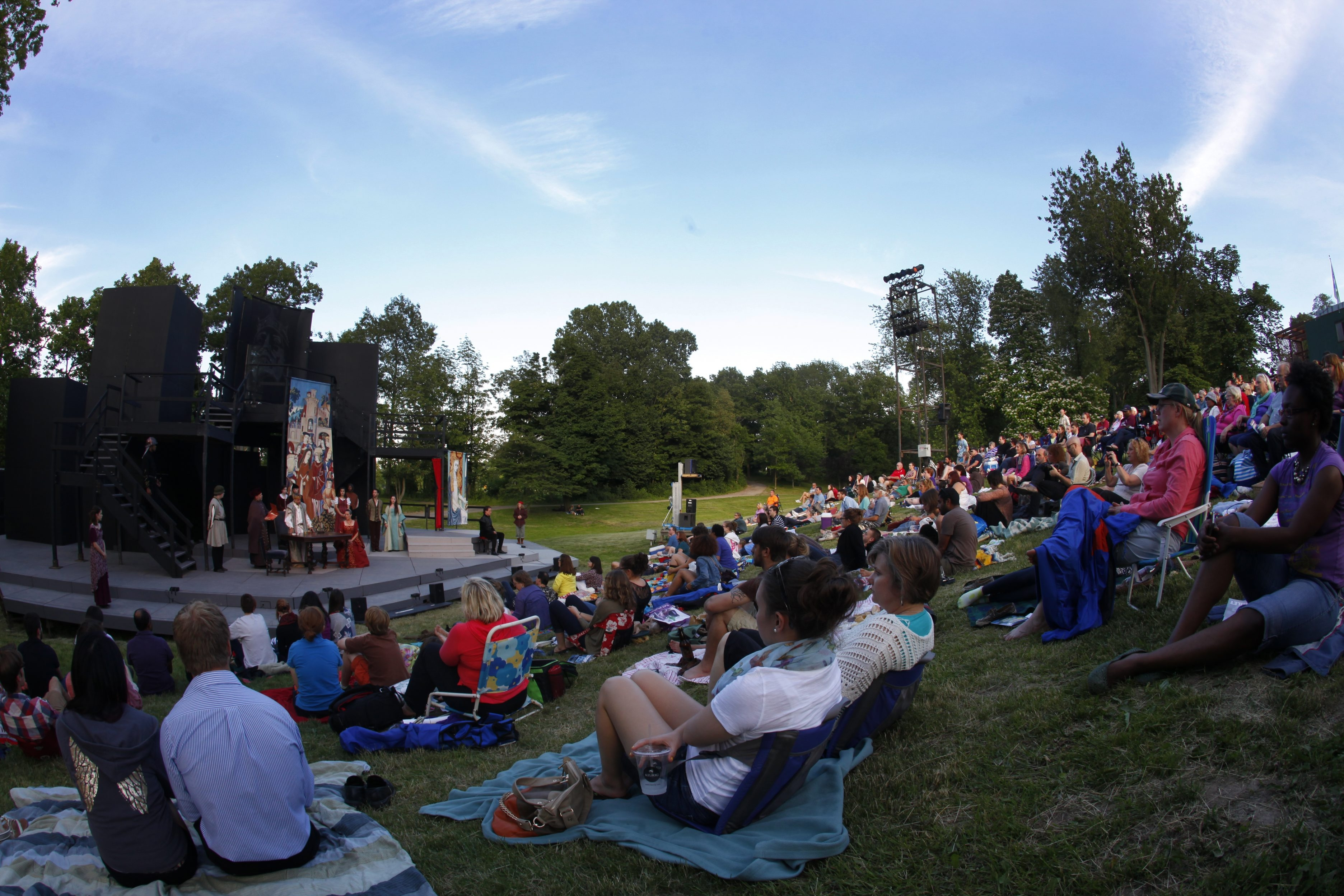 General views of the crowd and Shakespeare in the Delaware Park's performance of  Hamlet ,on Friday, June 21, 2013.{Photo by Harry Scull Jr. / Buffalo News}