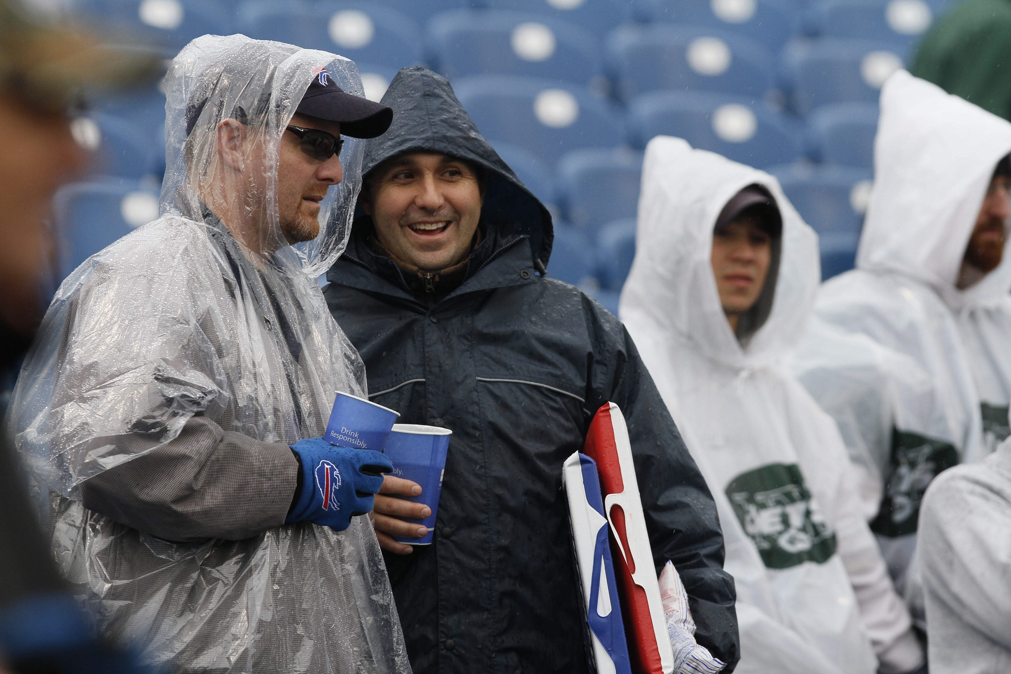 {FOR SPORTS}Bills fans watch the warm up before the game with the Jets Sunday, October 3, 2010.{Mark Mulville/Buffalo News}