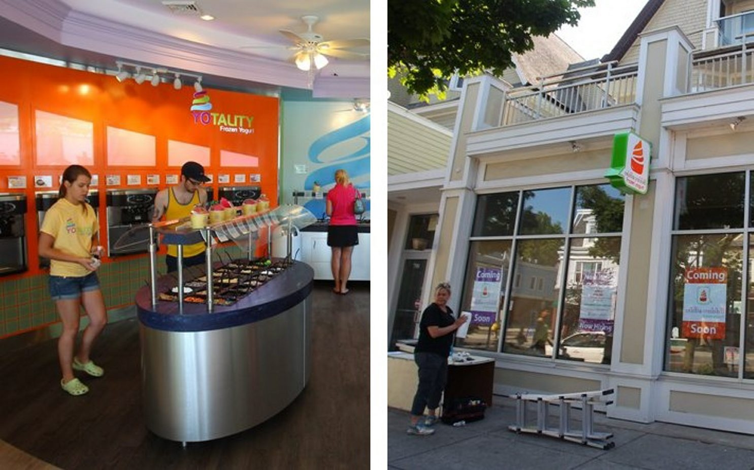 Customers are dazzled by the 25 flavors and supersaturated decor at Yotality, left. Although Andy Kandola, owner of White Rabbit, right, didn't know he would be competing so closely, he's confident he can offer customers a wonderland of taste.