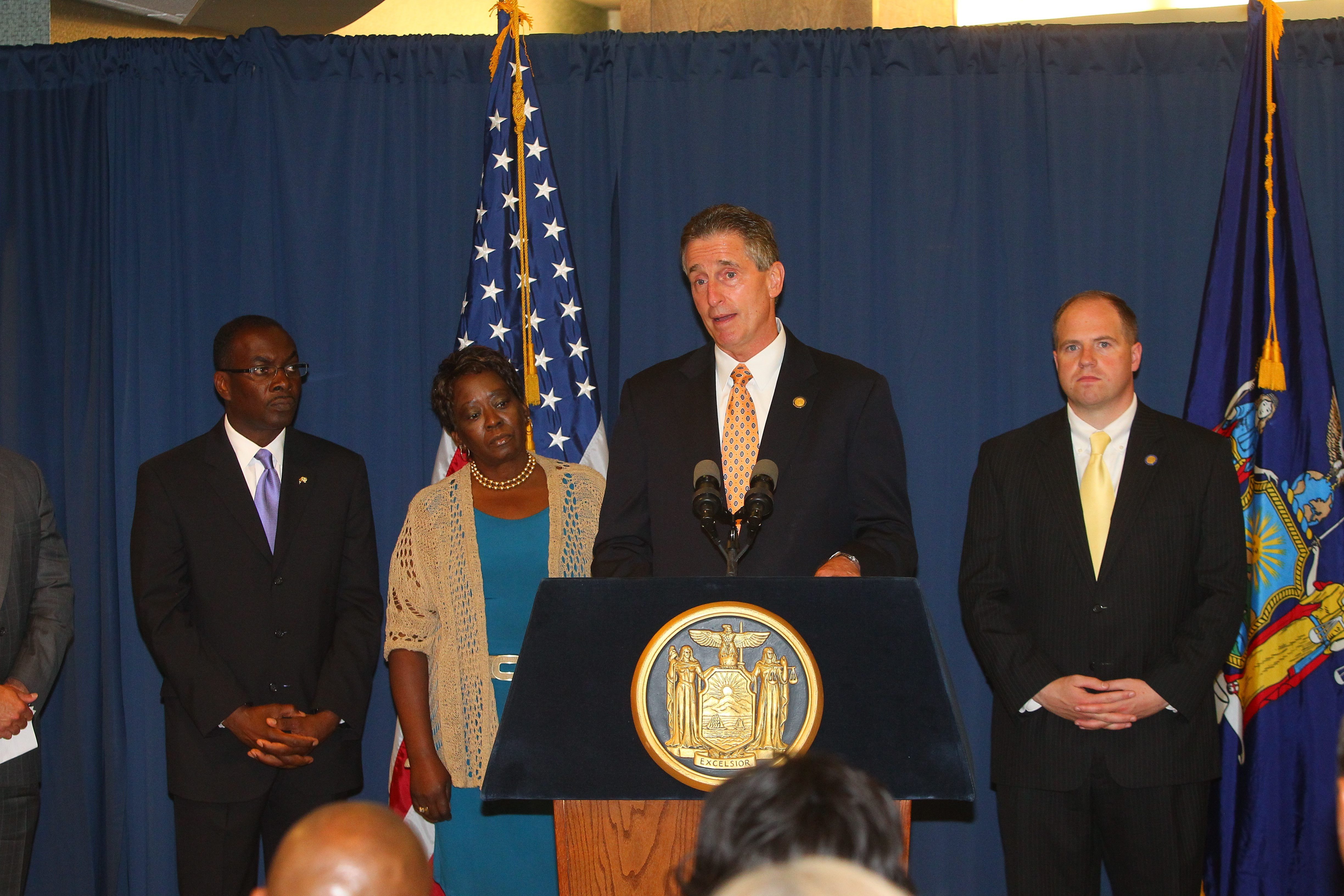 From left, Buffalo Mayor Byron W. Brown, Assemblywoman Crystal Peoples-Stokes, Lt. Gov. Robert Duffy and State Sen. Tim Kennedy attended the announcement.