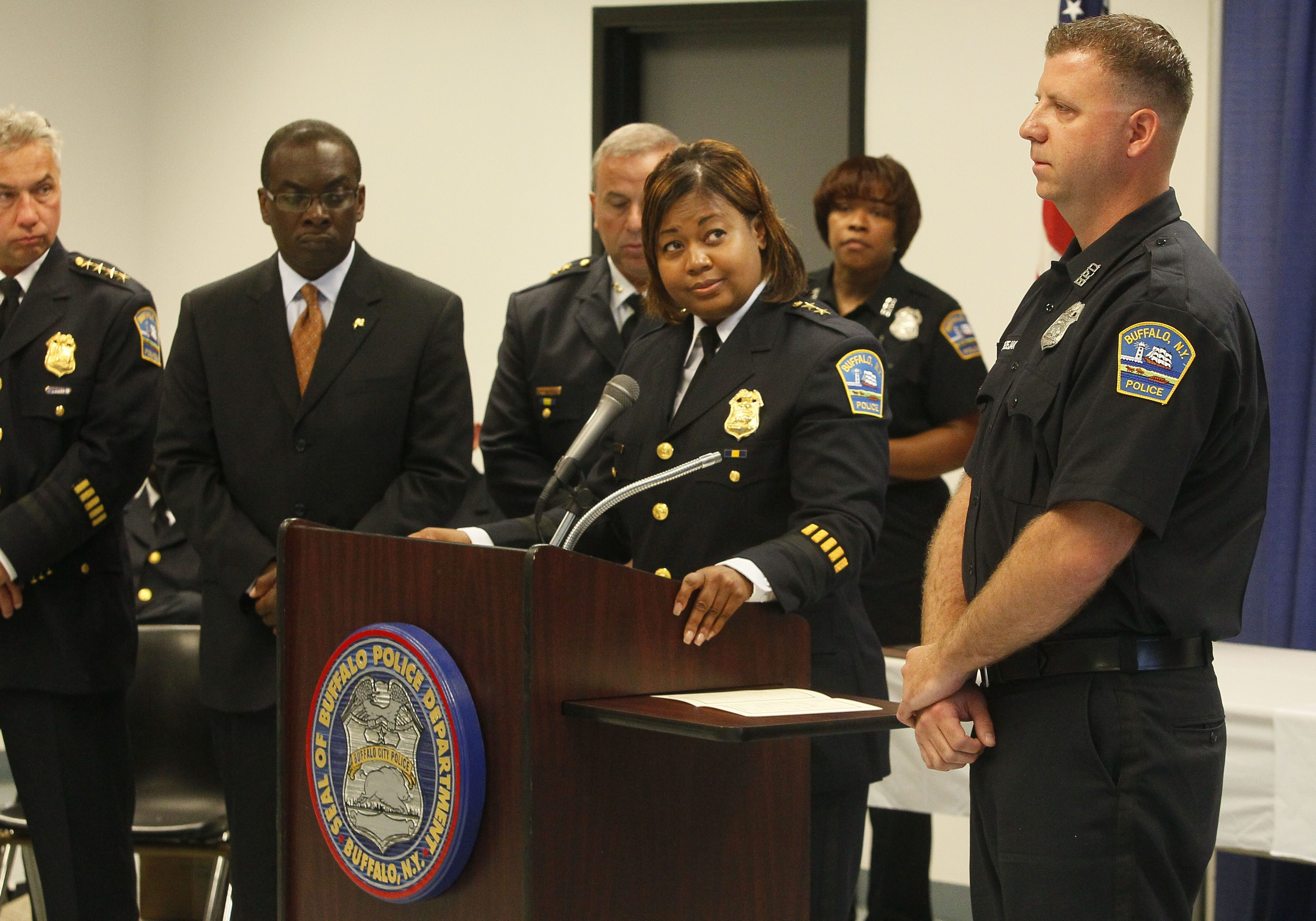 Northeast District Chief Kimberly L. Beaty appears in a campaign advertisement for Mayor Byron Brown.