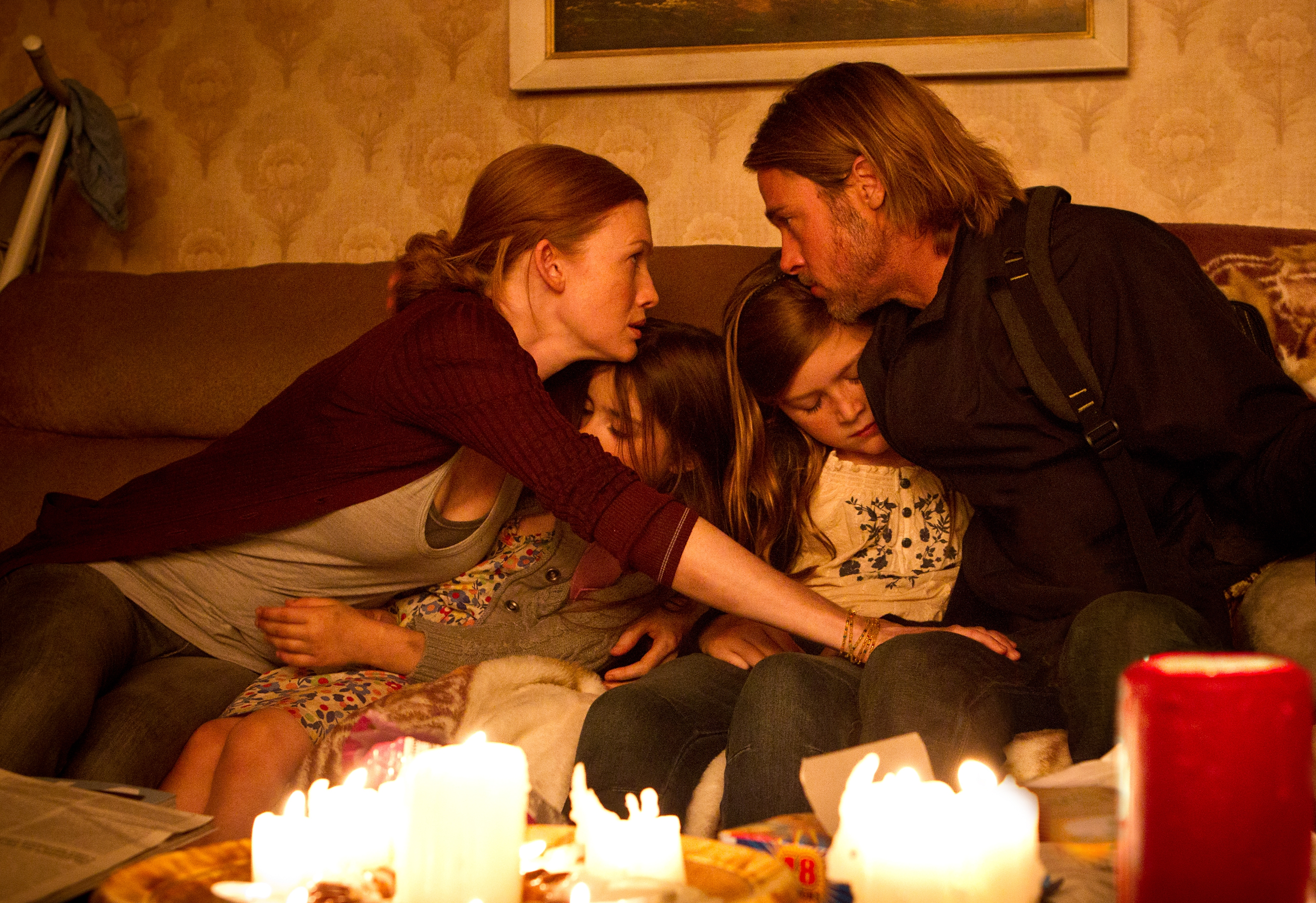 """From left, the Lane family of """"World War Z,"""" Mireille Enos, Sterling Jerins, Abigail Hargrove and Brad Pitt."""
